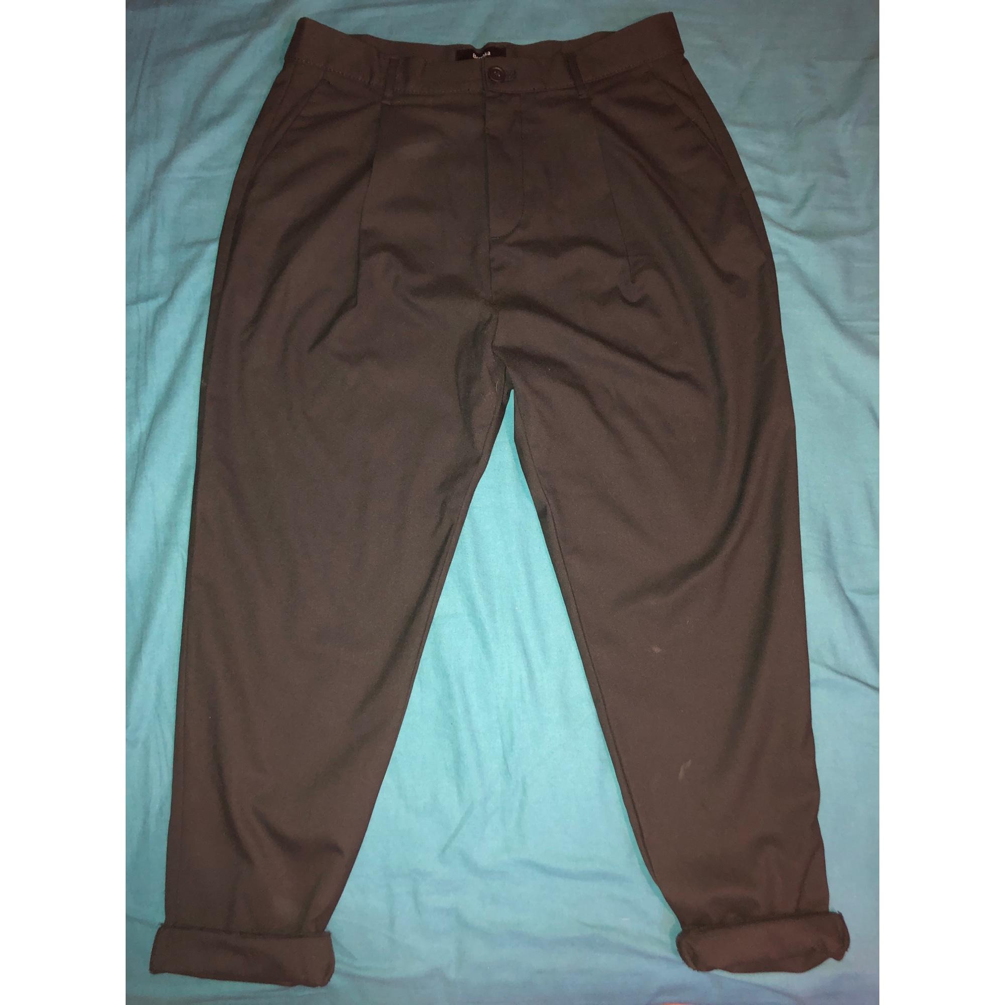 Pantalon slim BERSHKA Noir