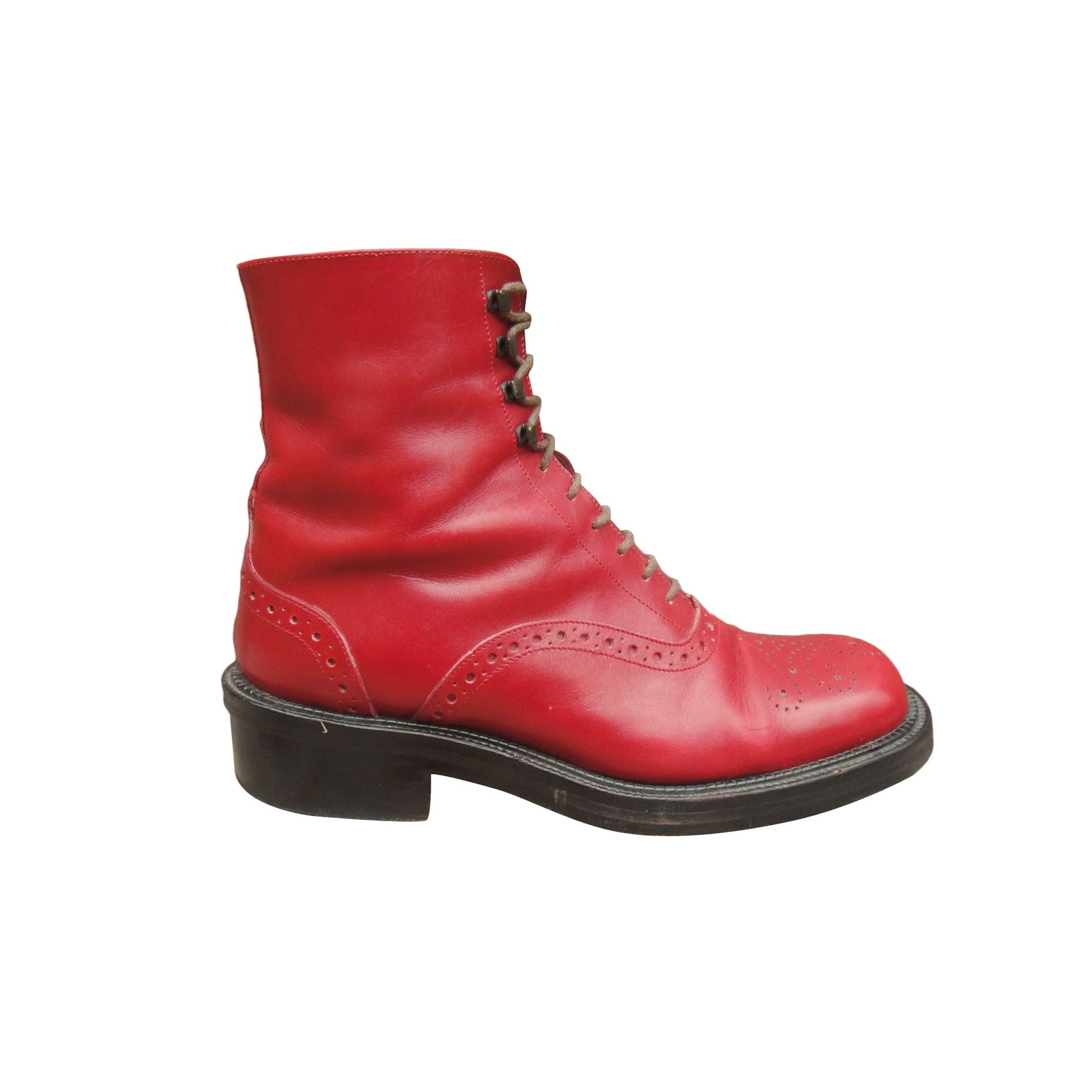 Biker Ankle Boots SARTORE Red, burgundy