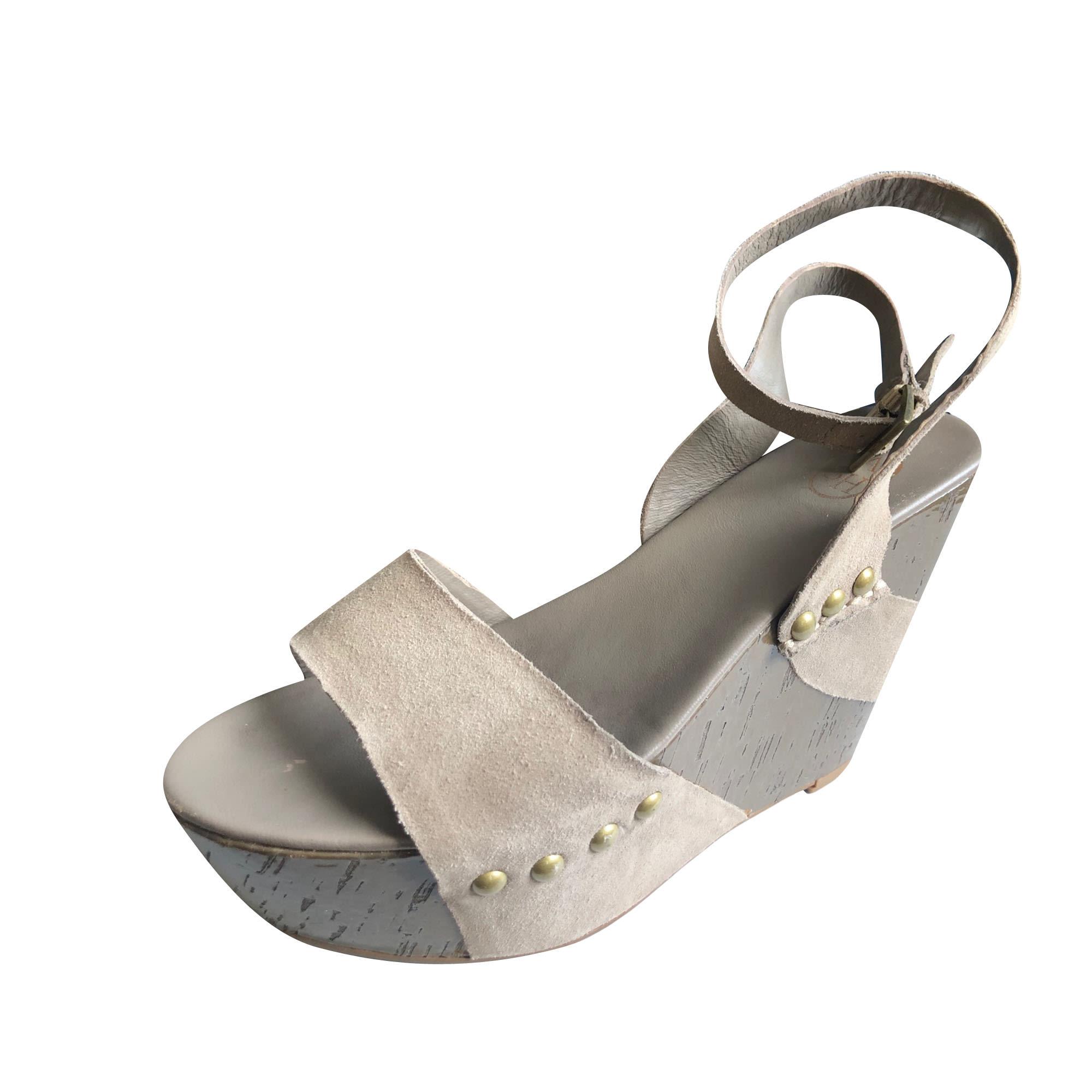Sandales compensées ASH Beige, camel
