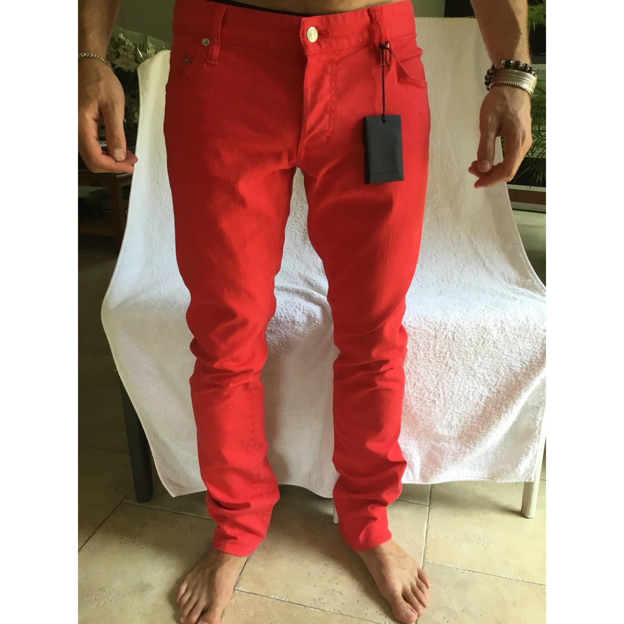 Pantalon droit DSQUARED2 Rouge, bordeaux