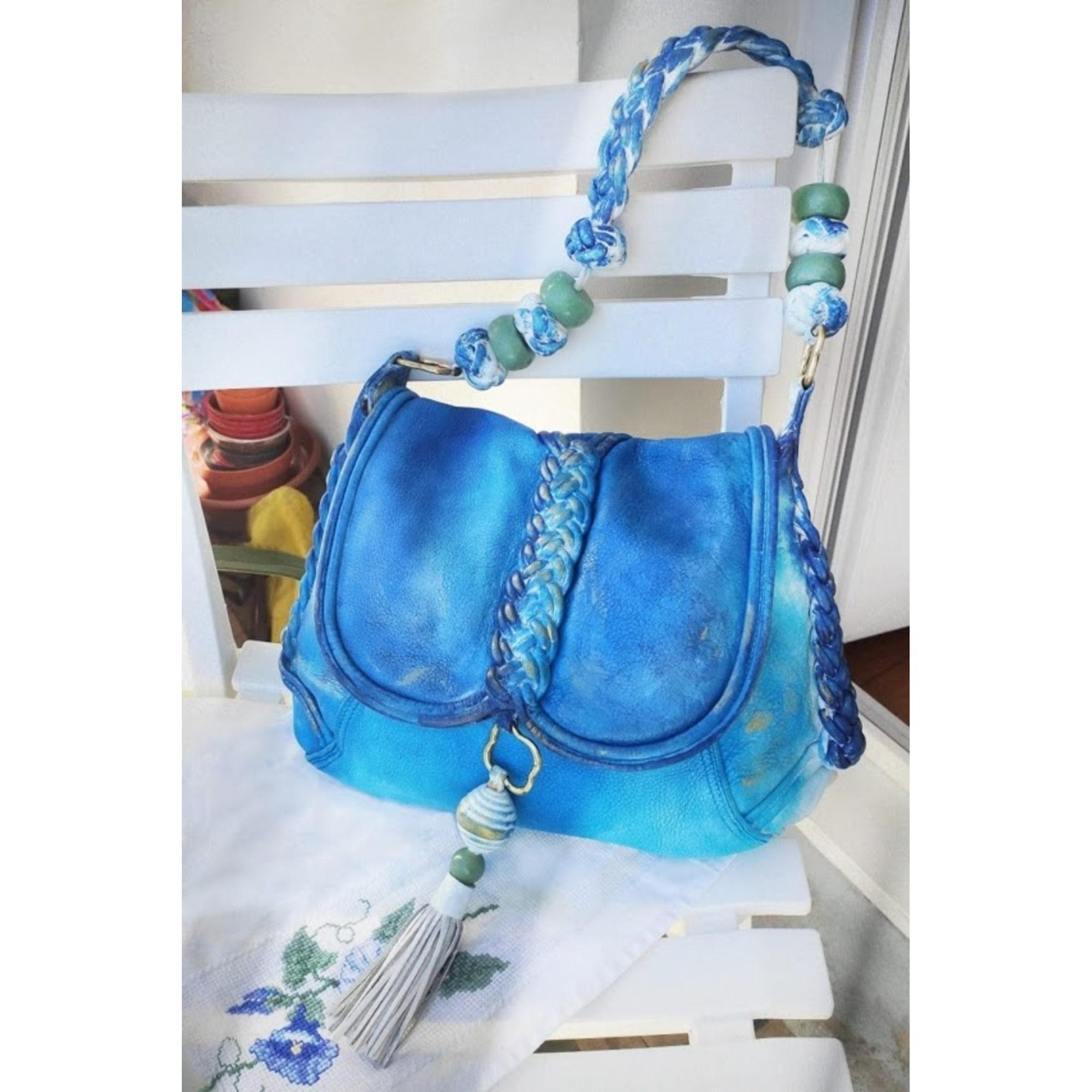 Sac en bandoulière en cuir SHANGHAI TANG Bleu, bleu marine, bleu turquoise