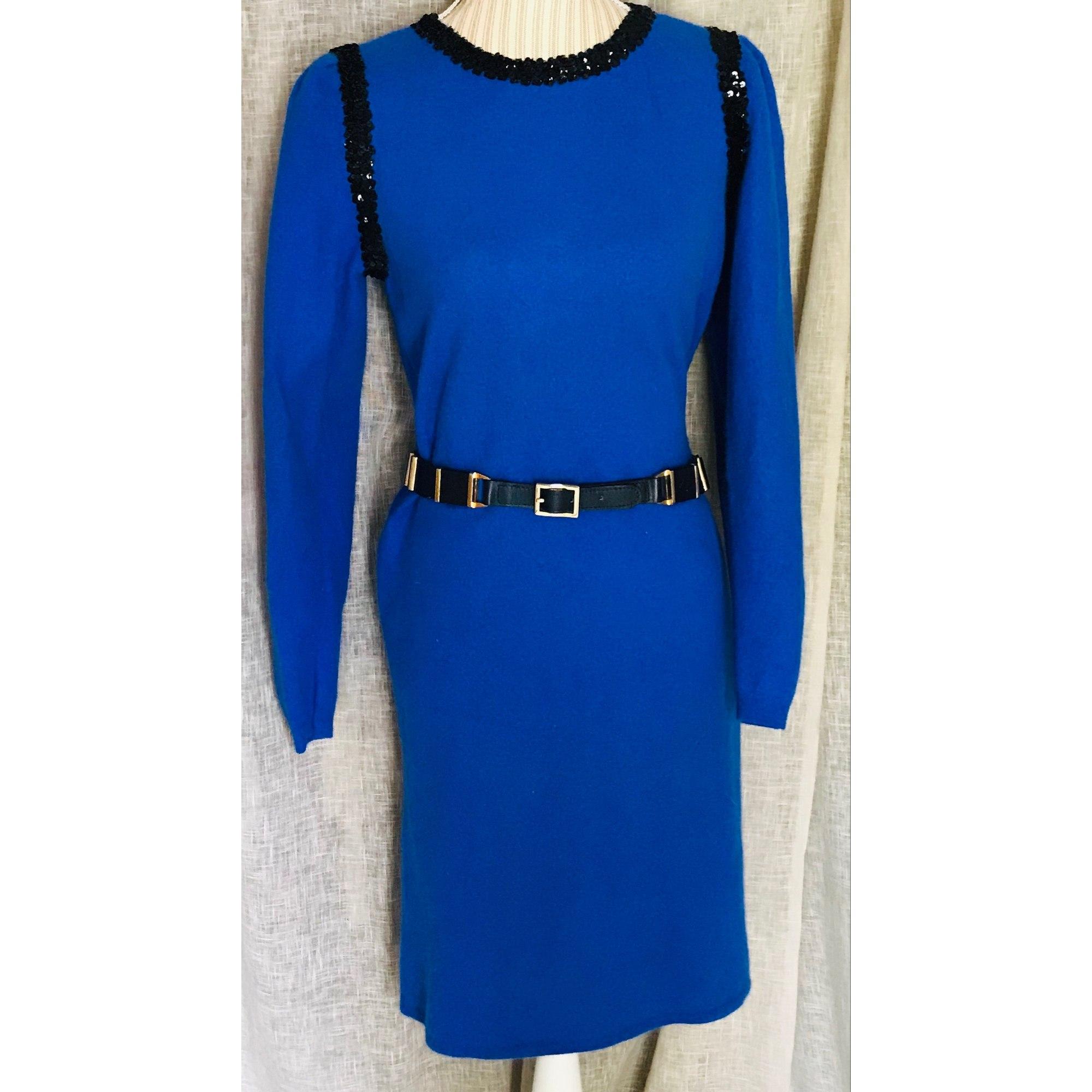 Robe mi-longue SAINT LAURENT Bleu, bleu marine, bleu turquoise
