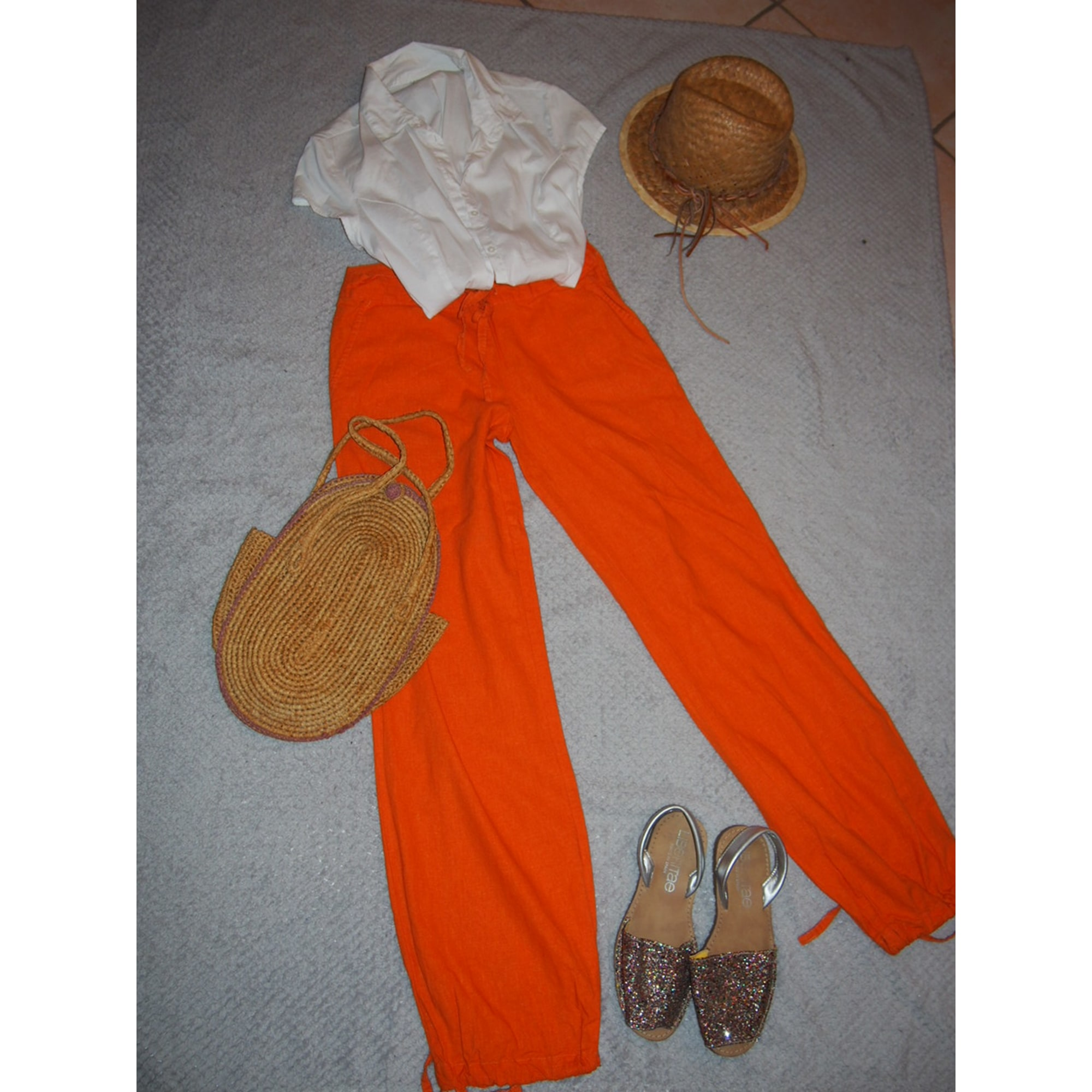 Straight Leg Pants CACHE CACHE Orange