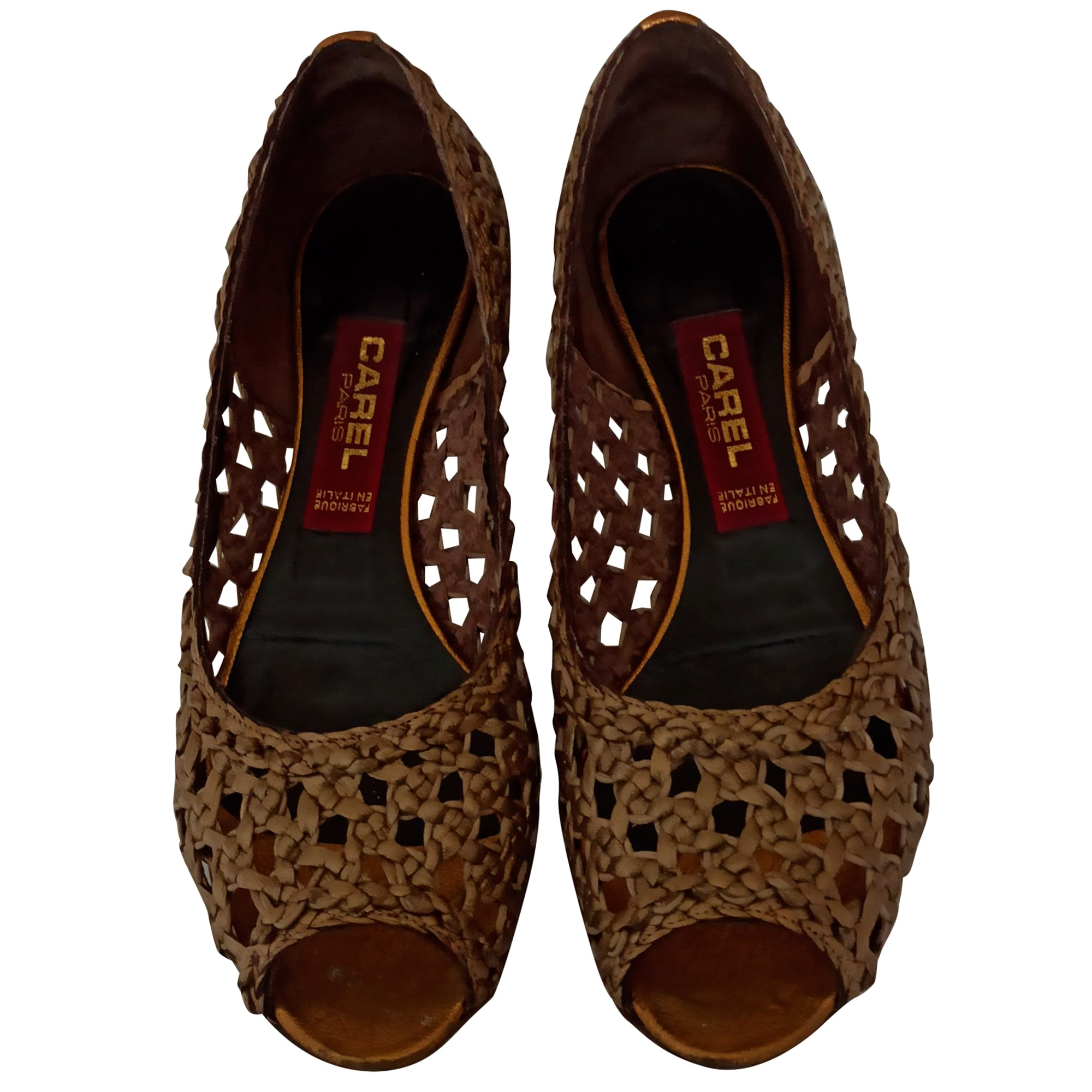 Sandales plates  CAREL Doré, bronze, cuivre