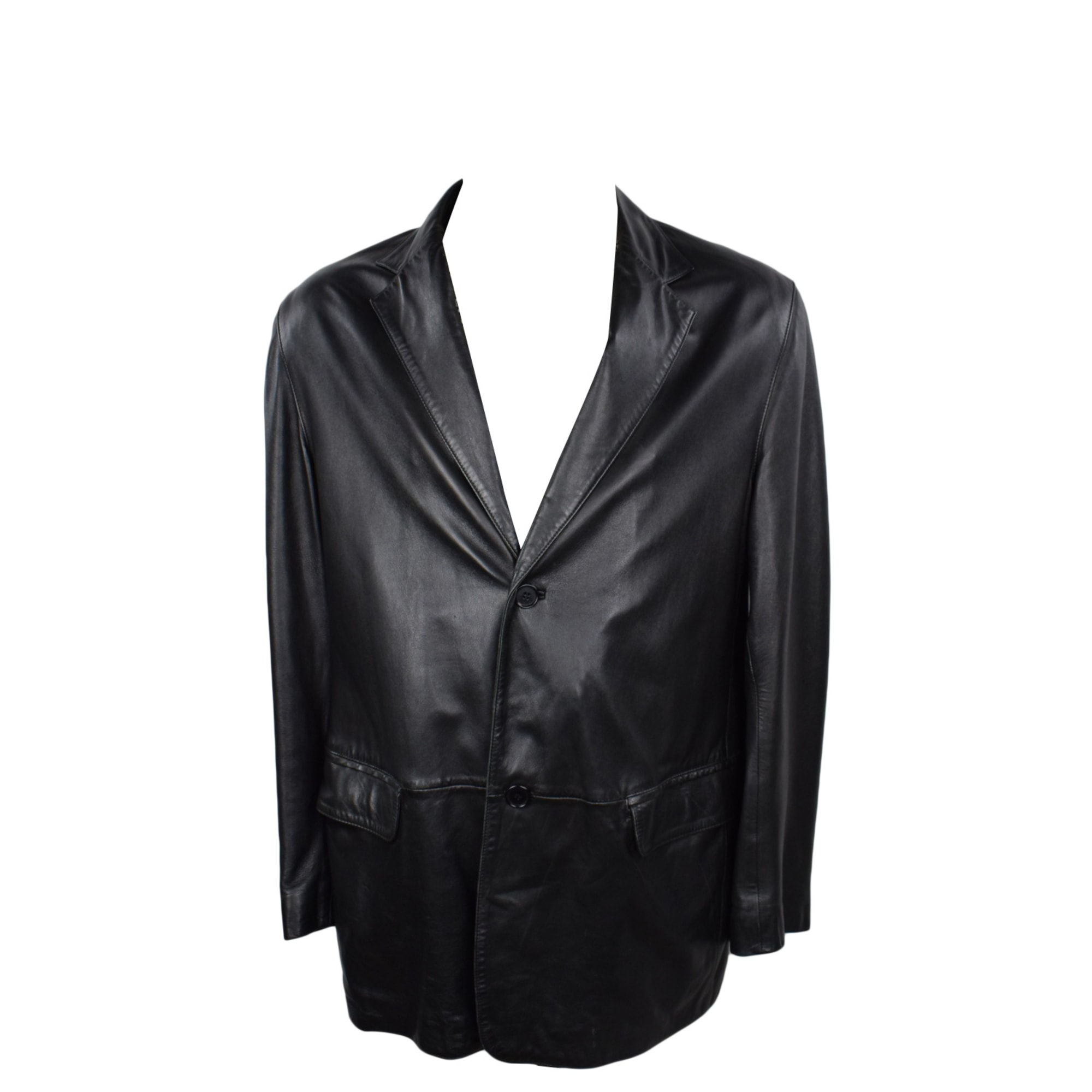Manteau en cuir DKNY Noir