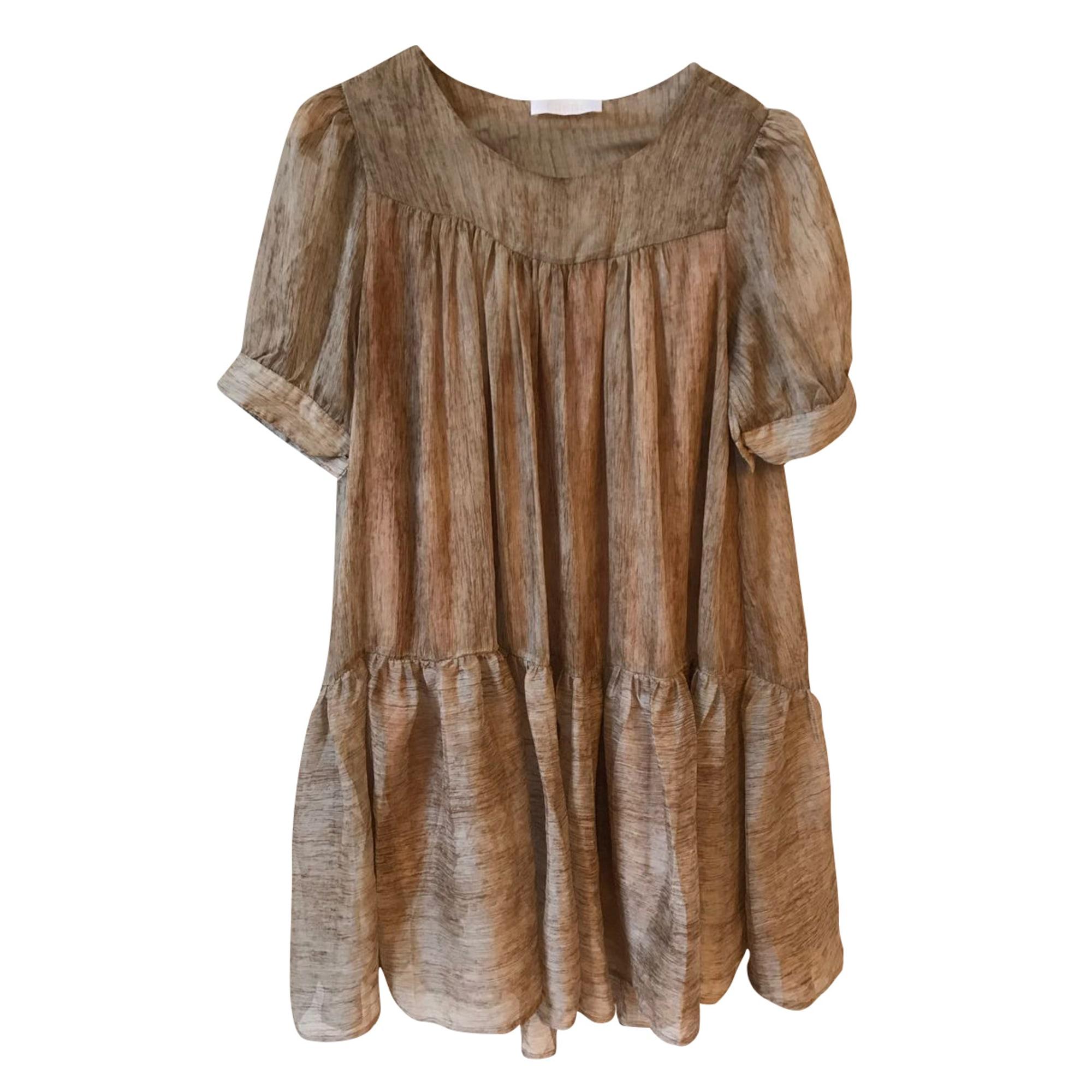 Robe courte CHLOÉ Beige, camel