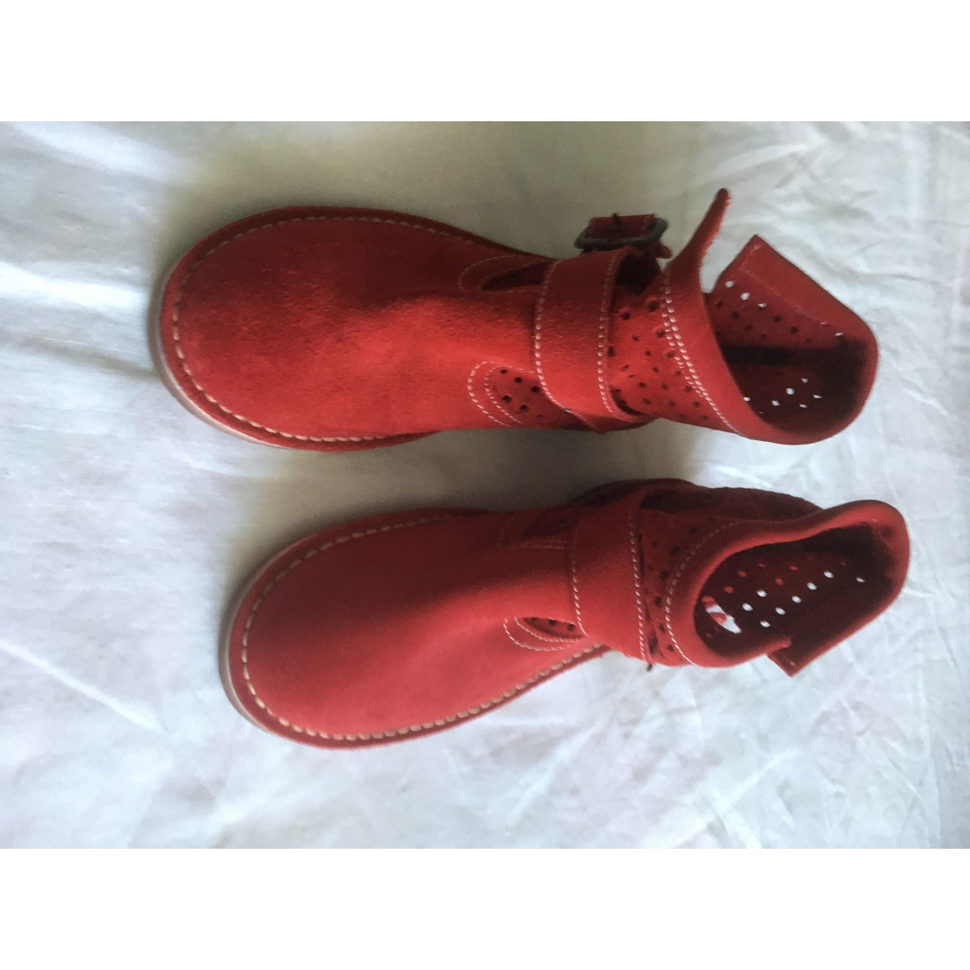 Bottines & low boots plates BRAN'S SHOES Rouge, bordeaux