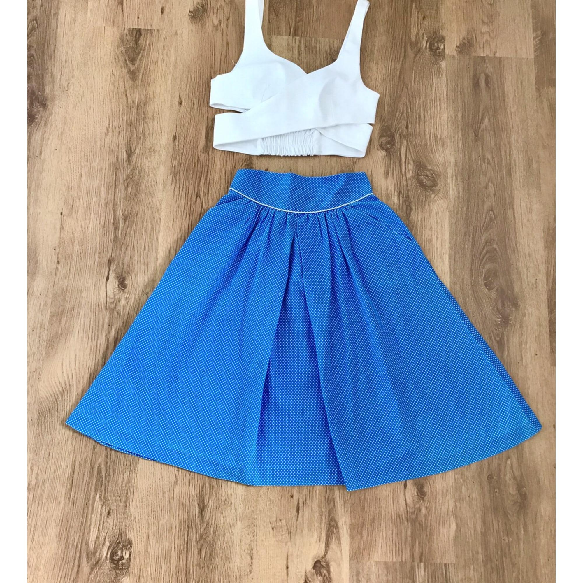 Jupe longue VINTAGE Bleu, bleu marine, bleu turquoise