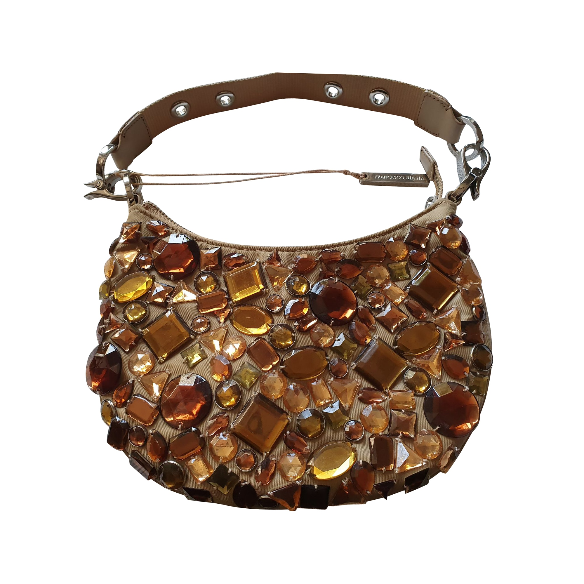Sac pochette en tissu FRANCESCO BIASIA Doré, bronze, cuivre