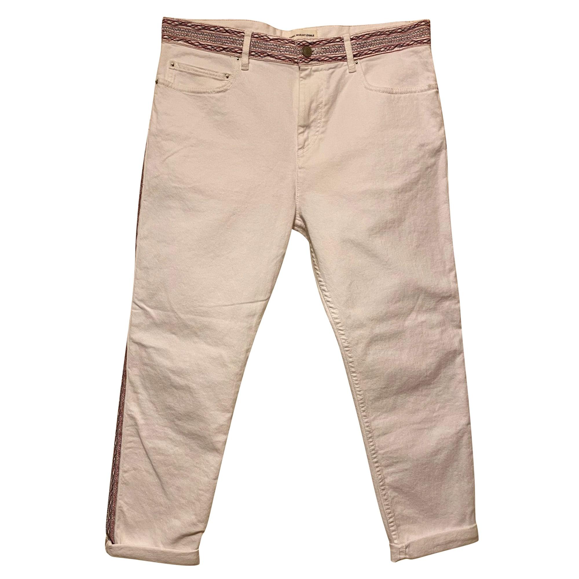 Pantalon slim, cigarette ISABEL MARANT ETOILE Blanc, blanc cassé, écru