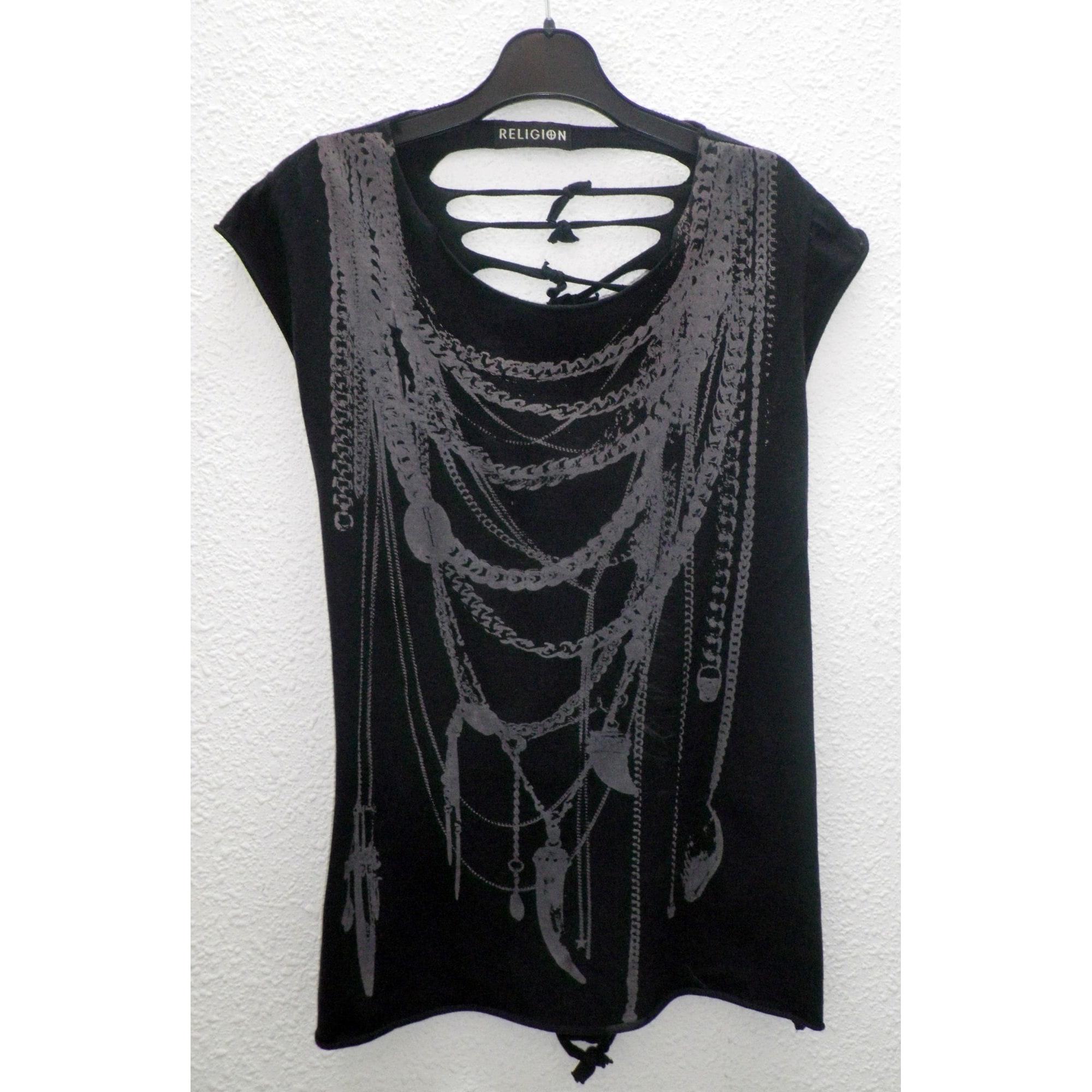 Top, tee-shirt RELIGION Noir