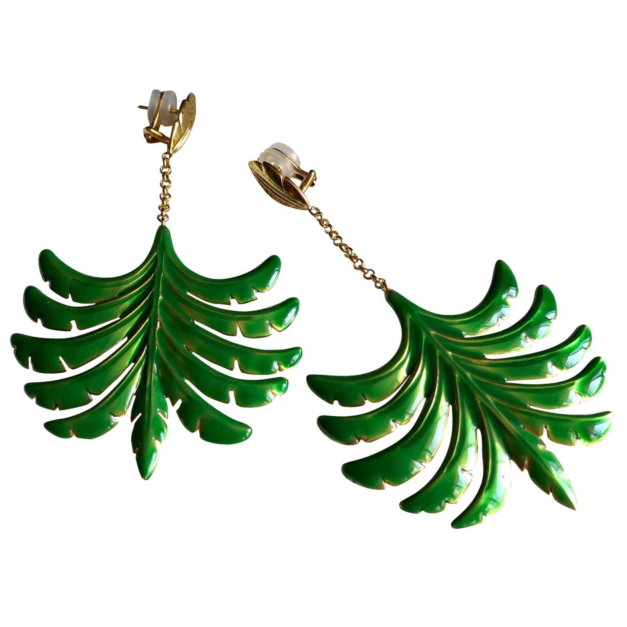 Boucles d'oreille AURELIE BIDERMANN Dore-vert