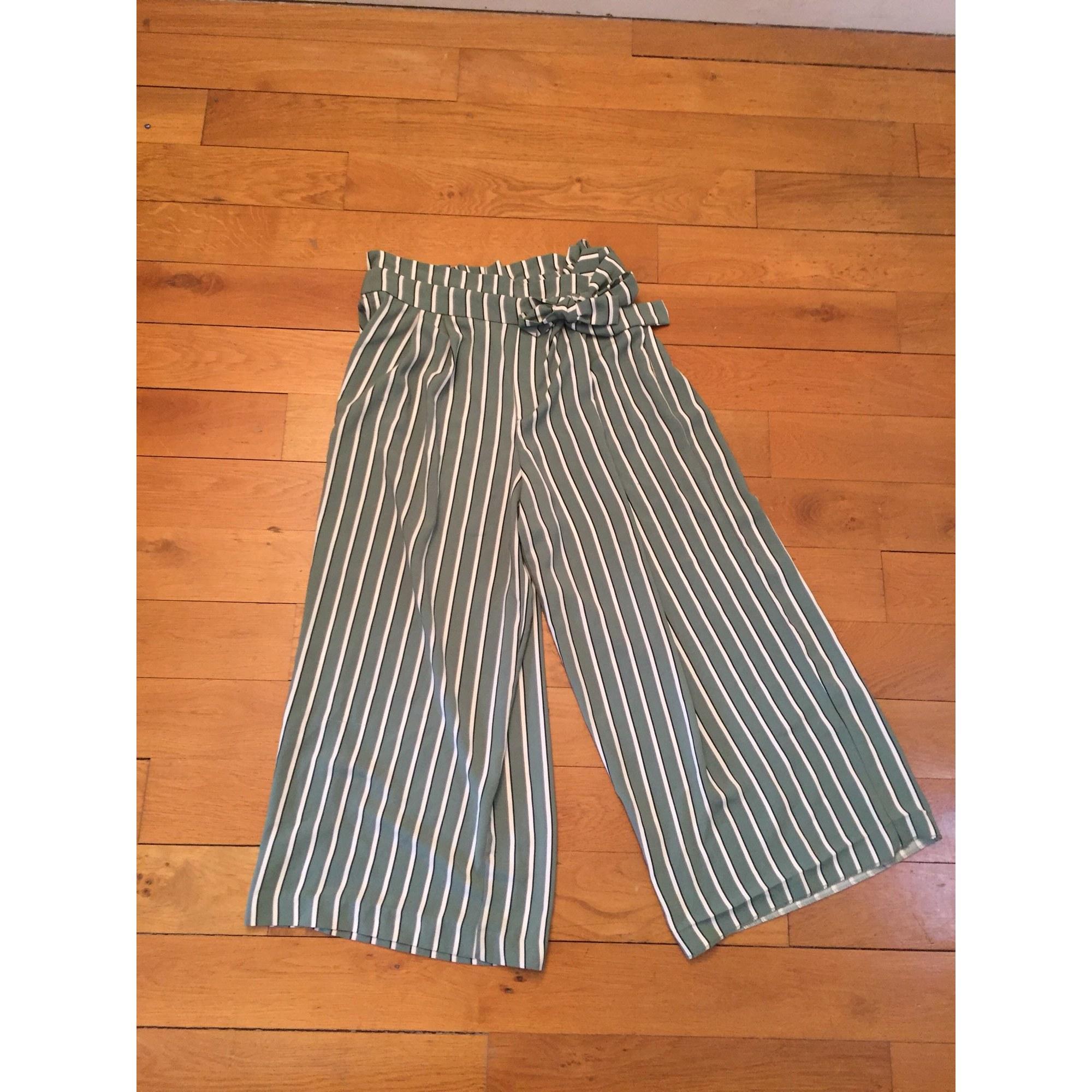 Pantalon large ZARA Vert
