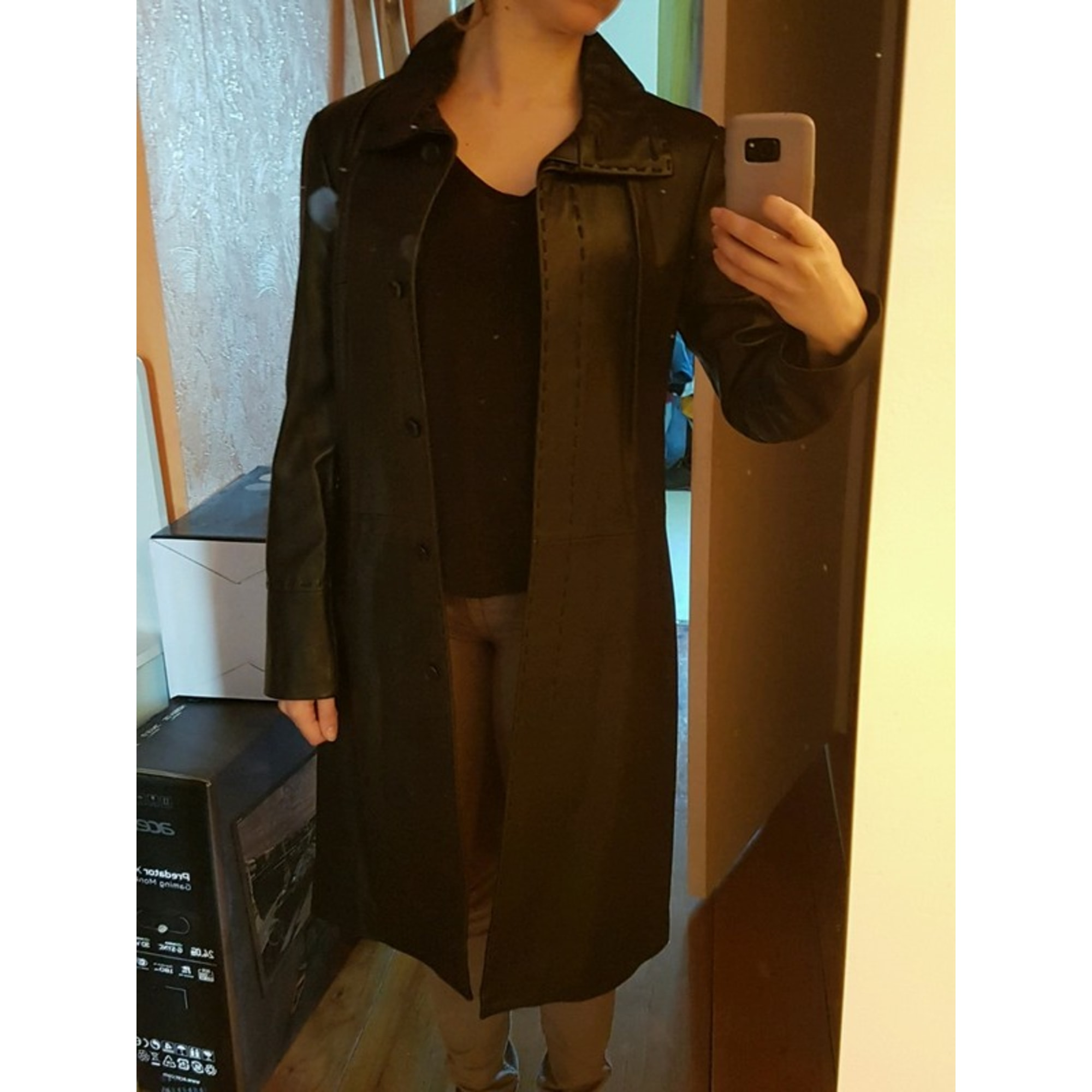 Manteau en cuir MANGO Noir