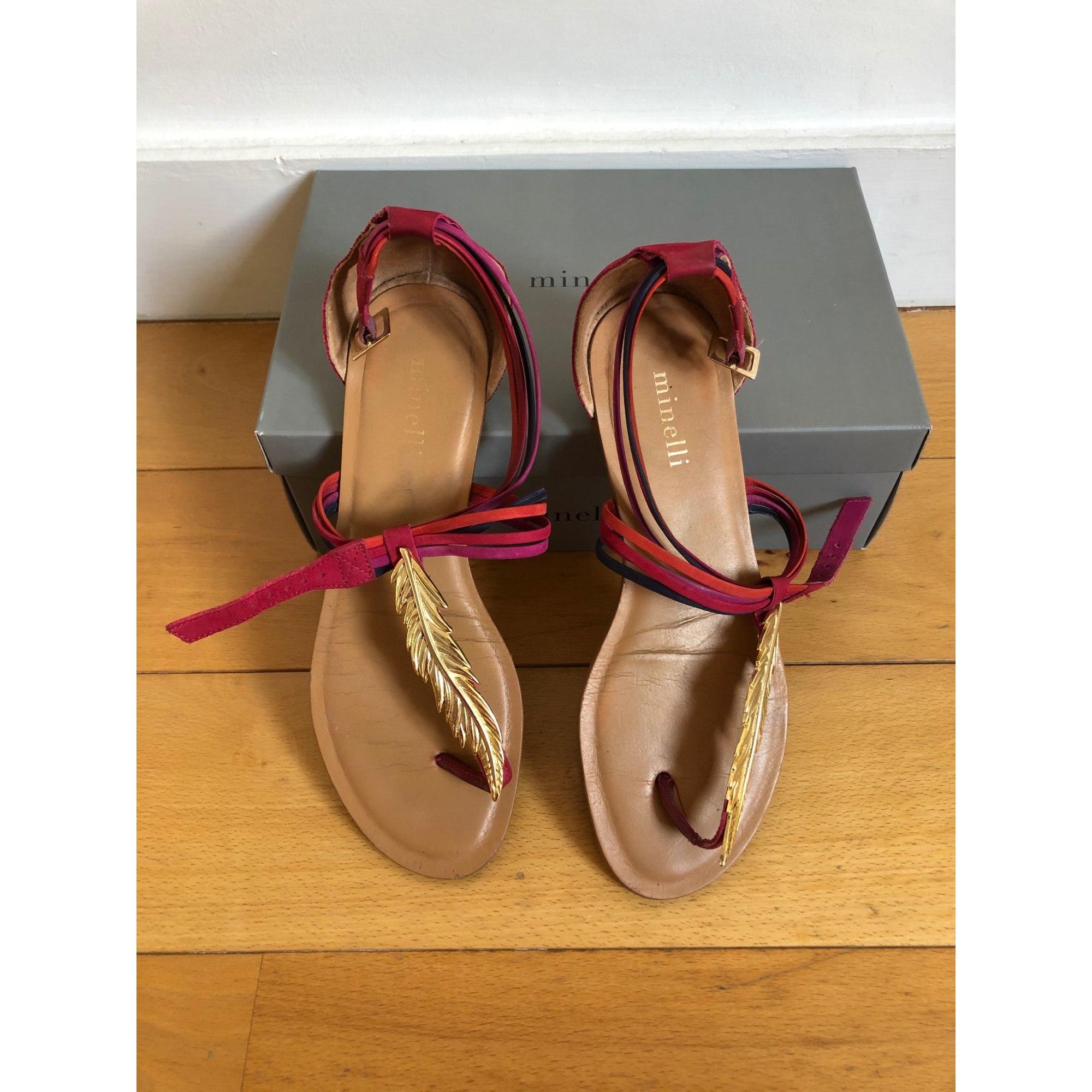 Sandales plates  MINELLI Rose, fuschia, vieux rose