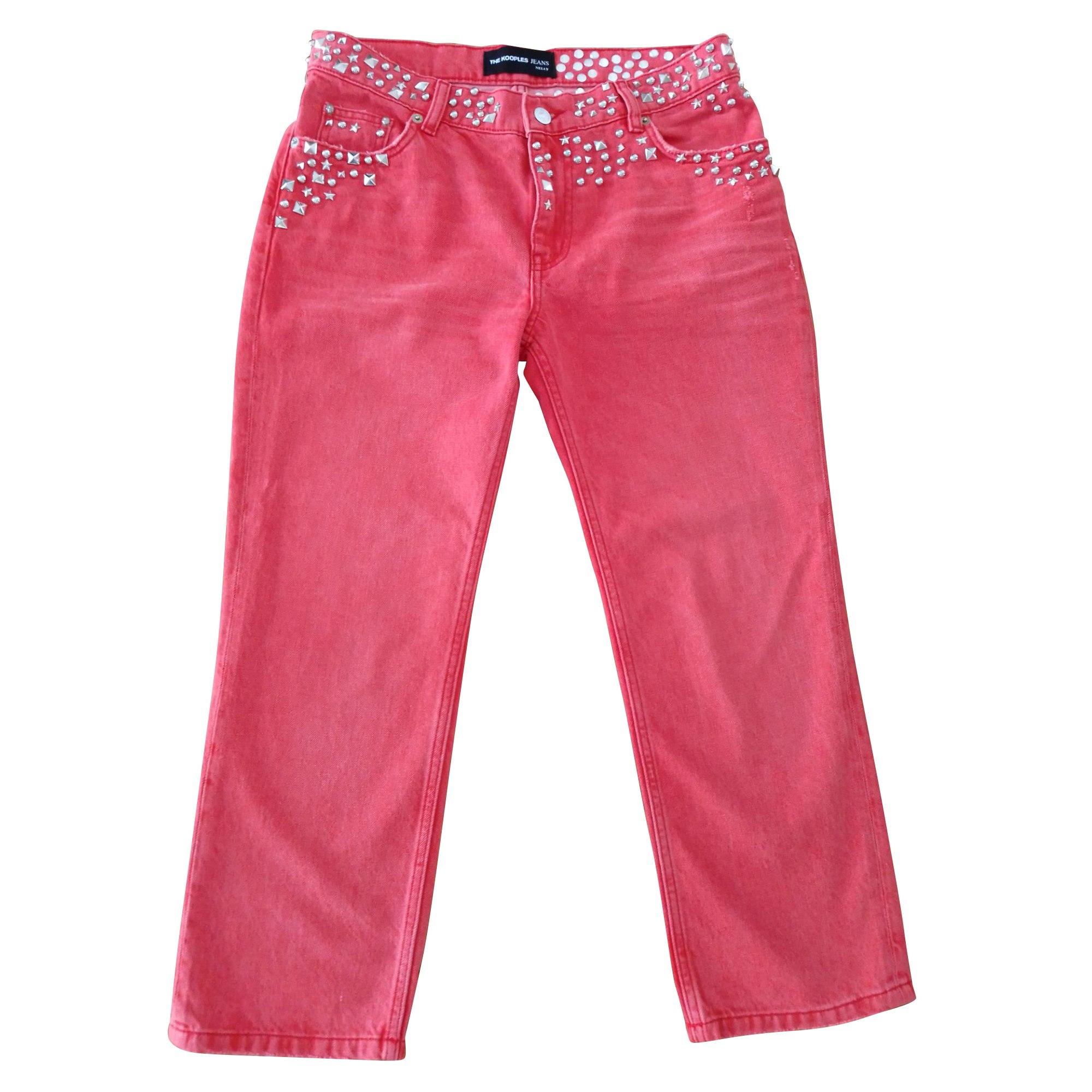 Jeans large, boyfriend THE KOOPLES Rouge, bordeaux
