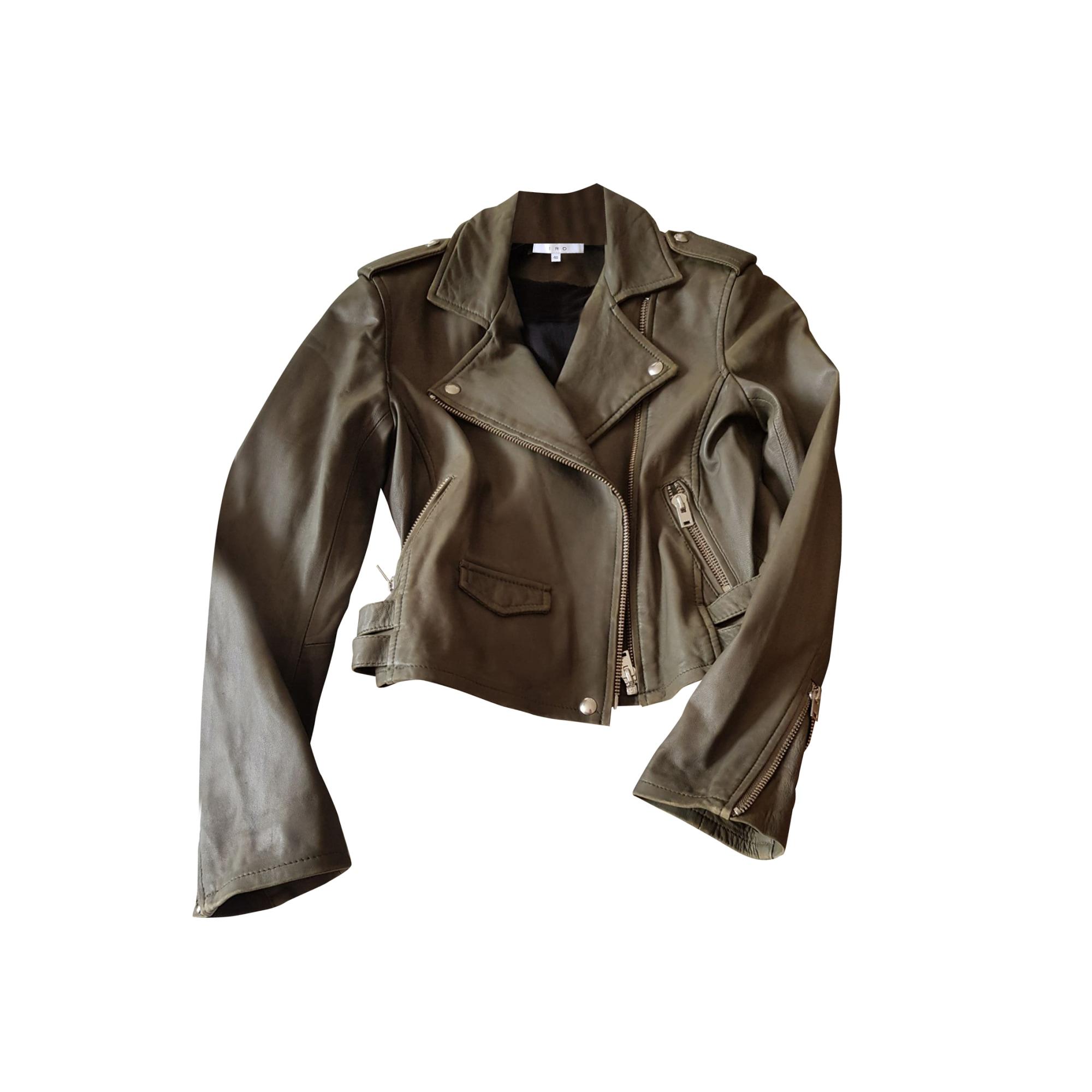 Leather Zipped Jacket IRO Khaki