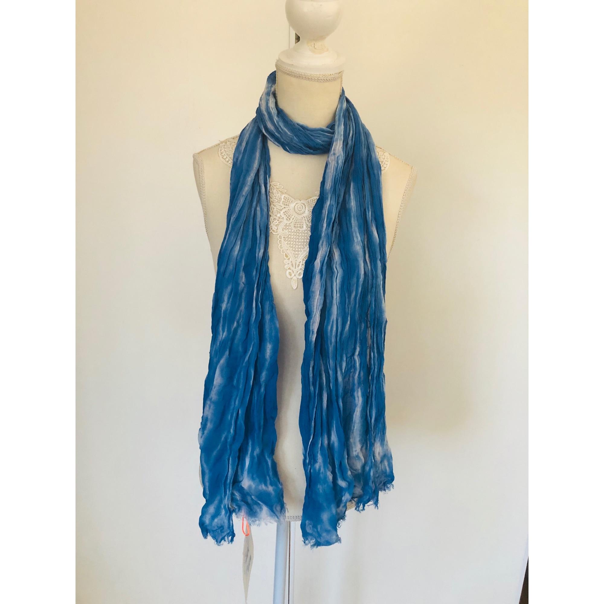 Foulard LE TEMPS DES CERISES Bleu, bleu marine, bleu turquoise