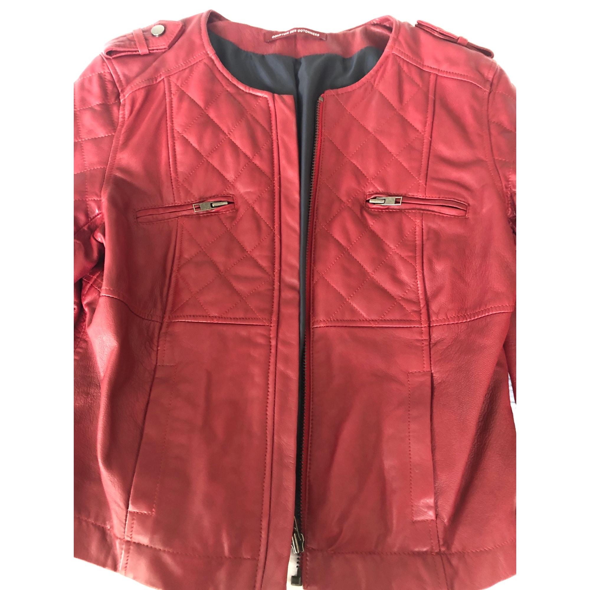 Veste en cuir COMPTOIR DES COTONNIERS Rouge, bordeaux