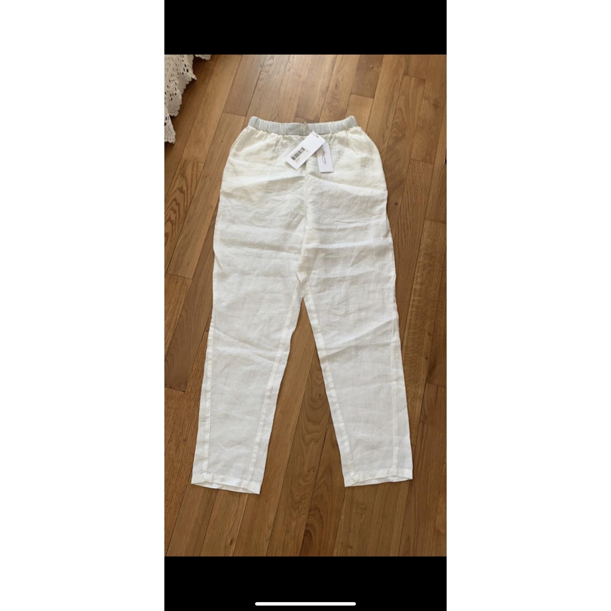 Pantalon large AMERICAN VINTAGE Blanc, blanc cassé, écru