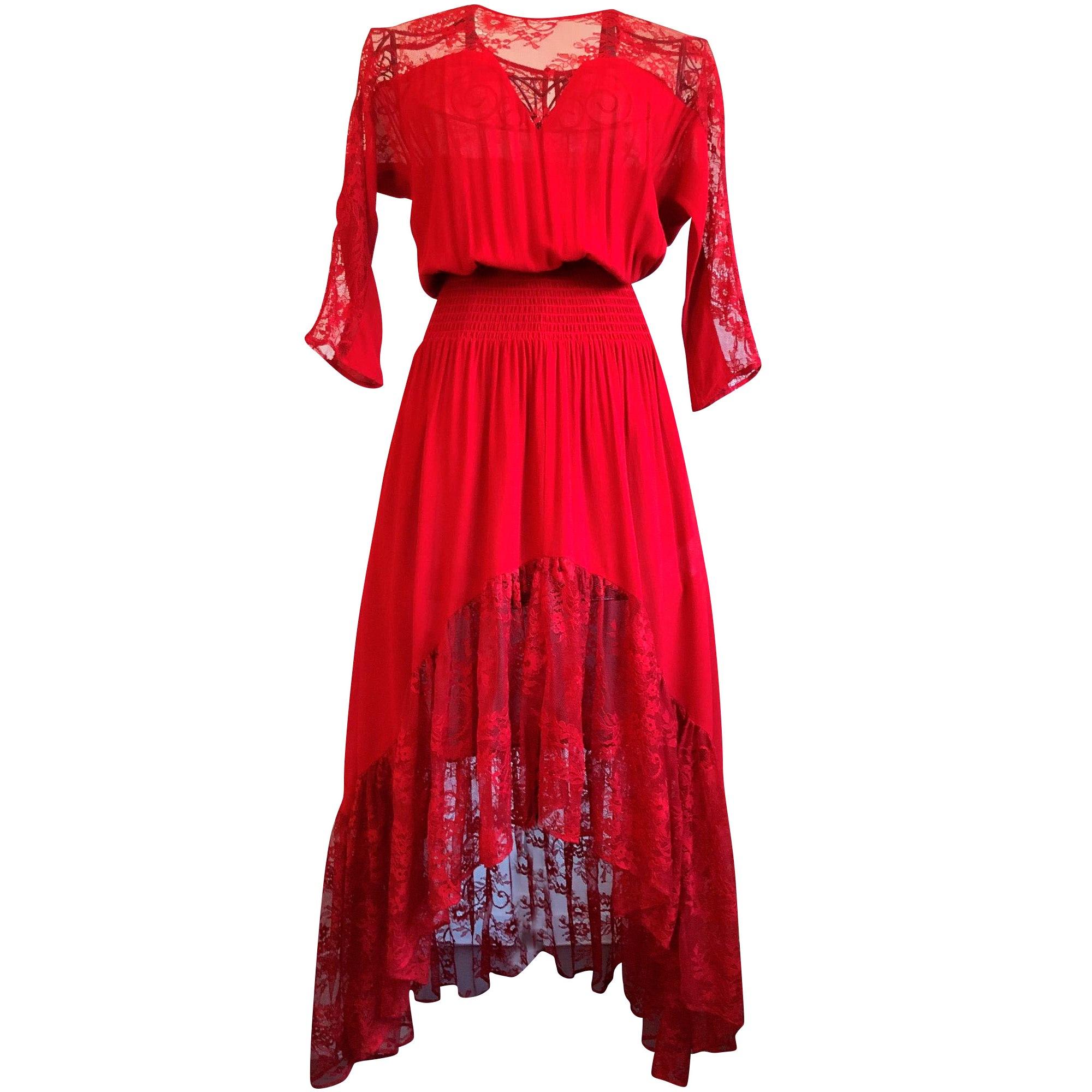 Robe longue MAJE Rouge, bordeaux