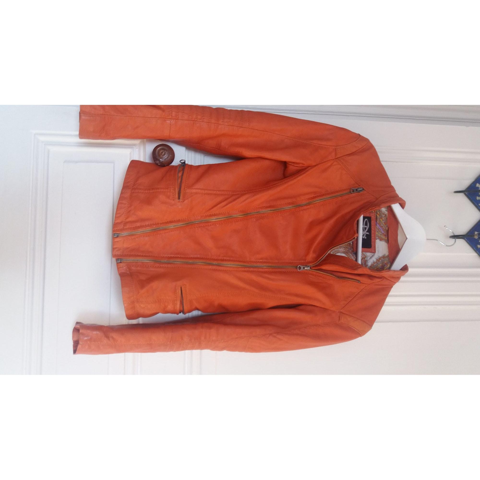 Veste en cuir DKS Orange