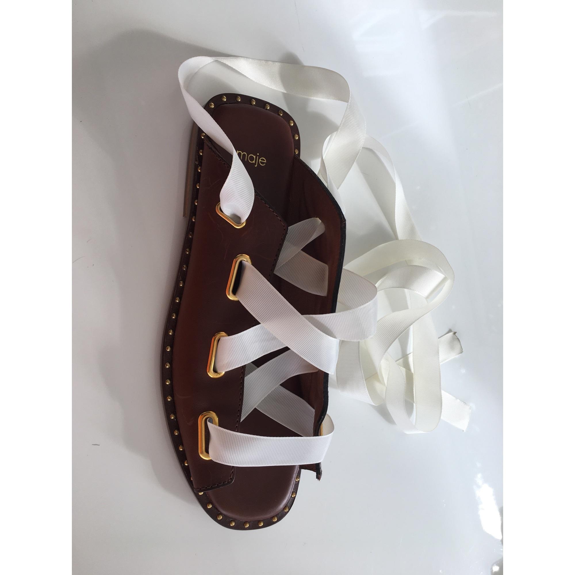 Sandales plates  MAJE Marron