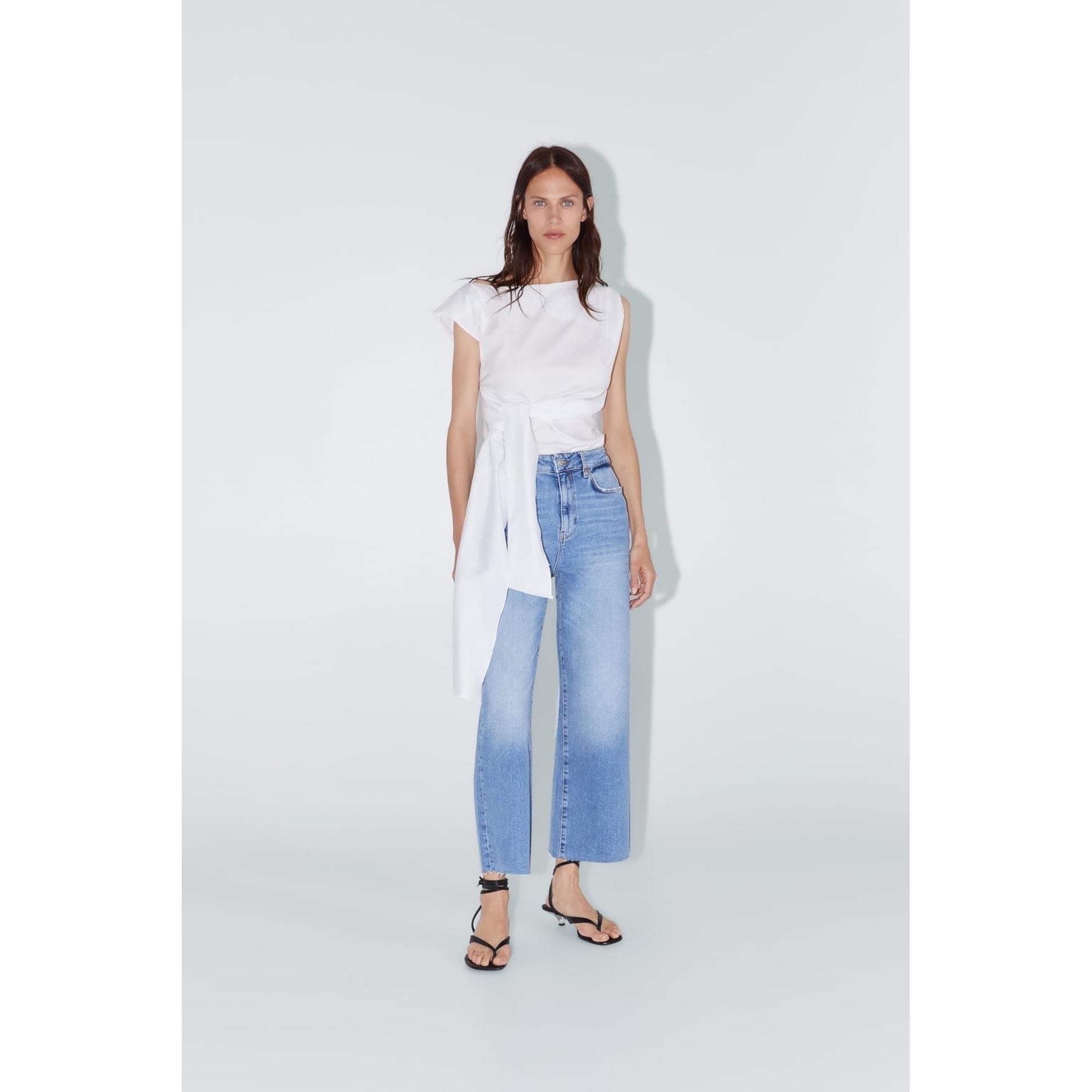 Jeans large, boyfriend ZARA Bleu, bleu marine, bleu turquoise