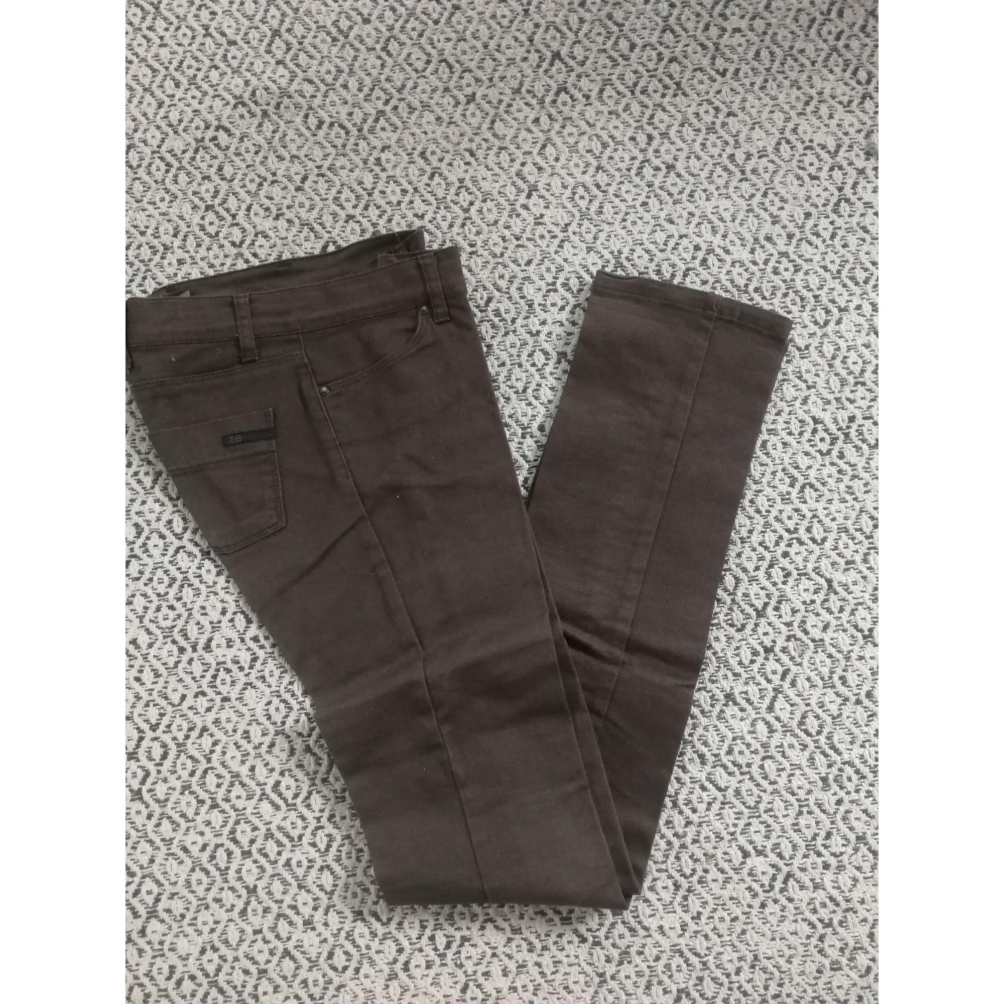 Pantalon droit ZARA Marron