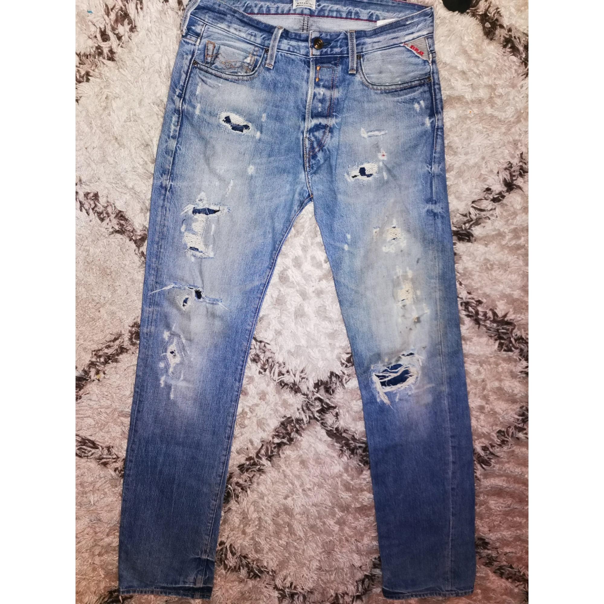 Jeans droit REPLAY Bleu, bleu marine, bleu turquoise