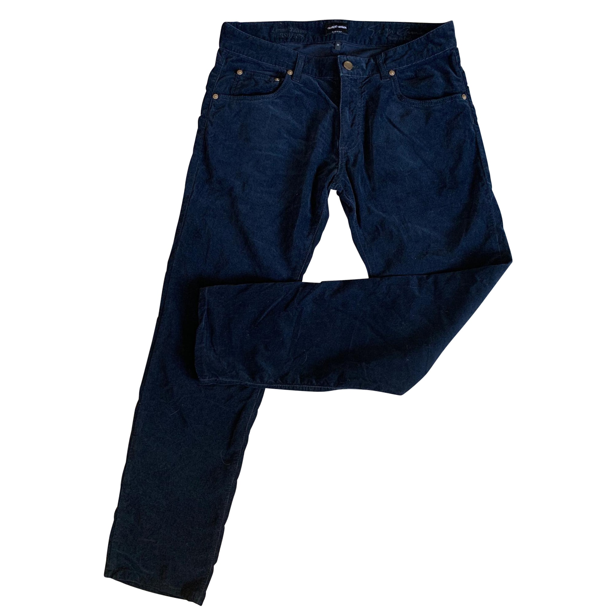 Pantalon droit GIORGIO ARMANI Bleu, bleu marine, bleu turquoise