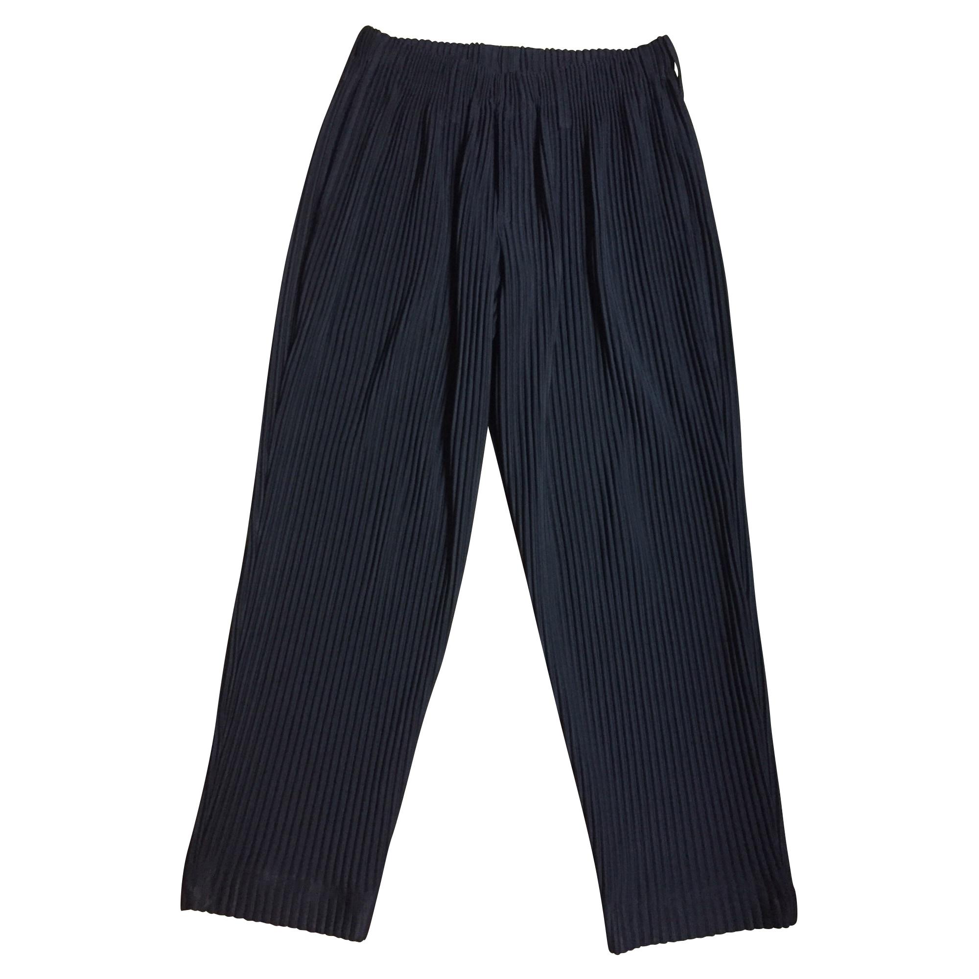 Pantalon droit ISSEY MIYAKE Noir
