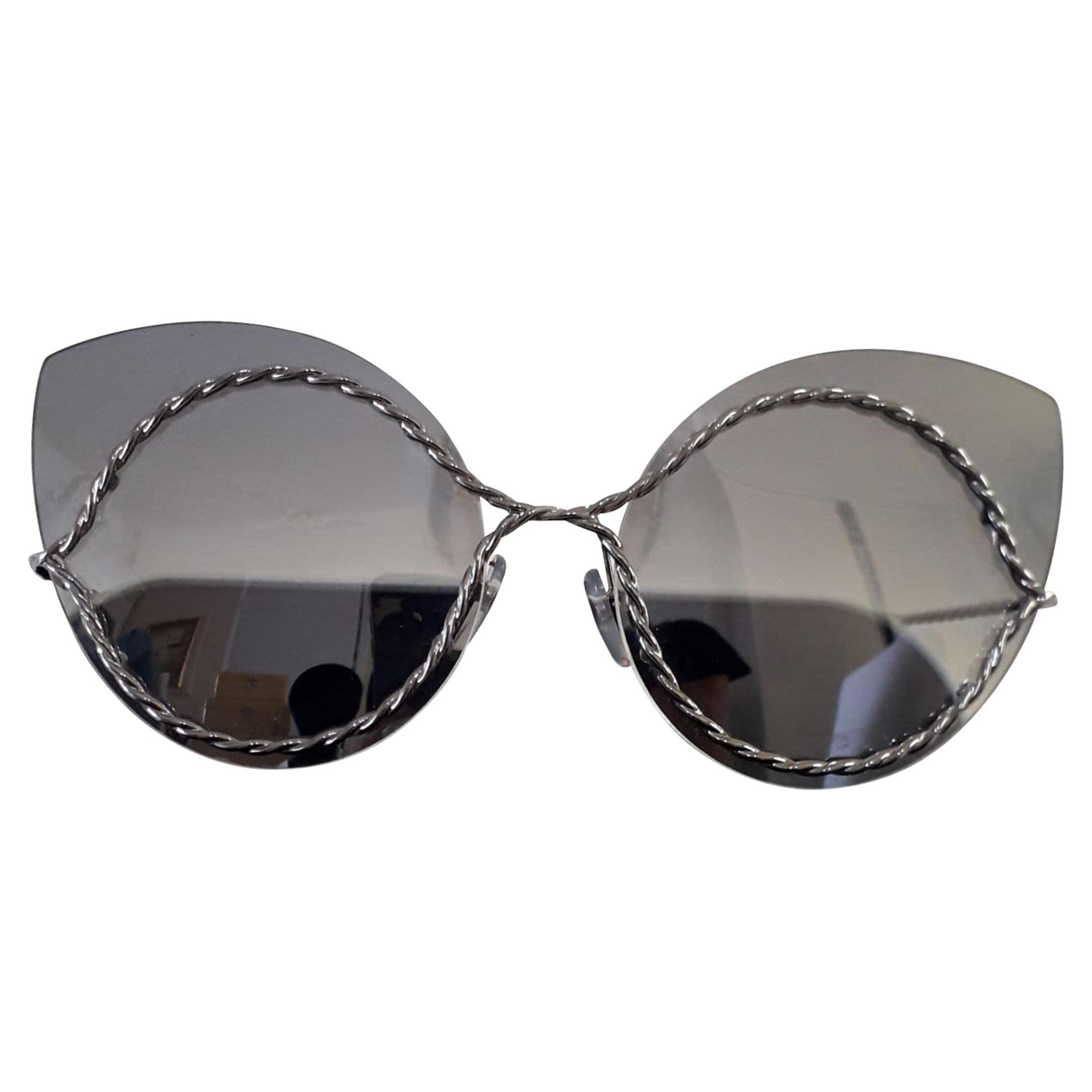 Sunglasses MARC JACOBS metal argenté, blanc et verres gris
