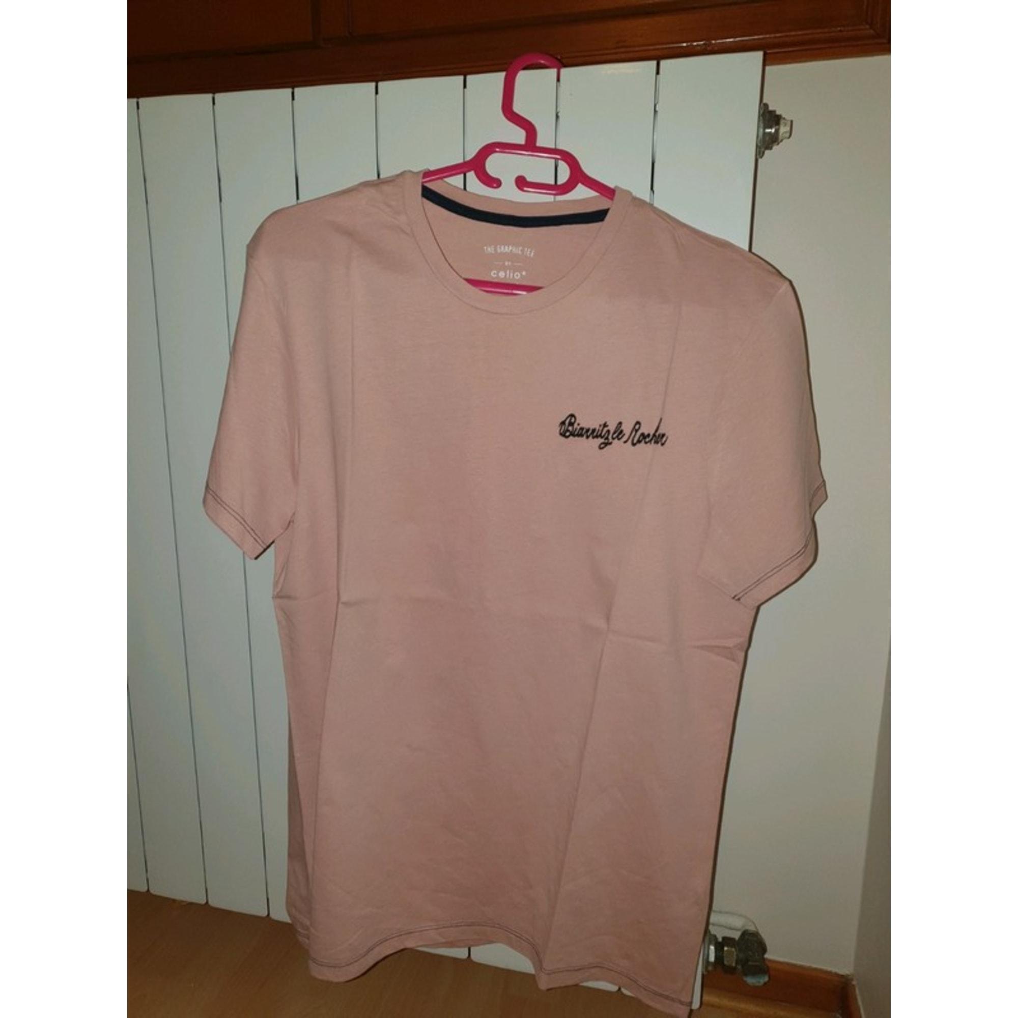 Tee-shirt CELIO Rose, fuschia, vieux rose
