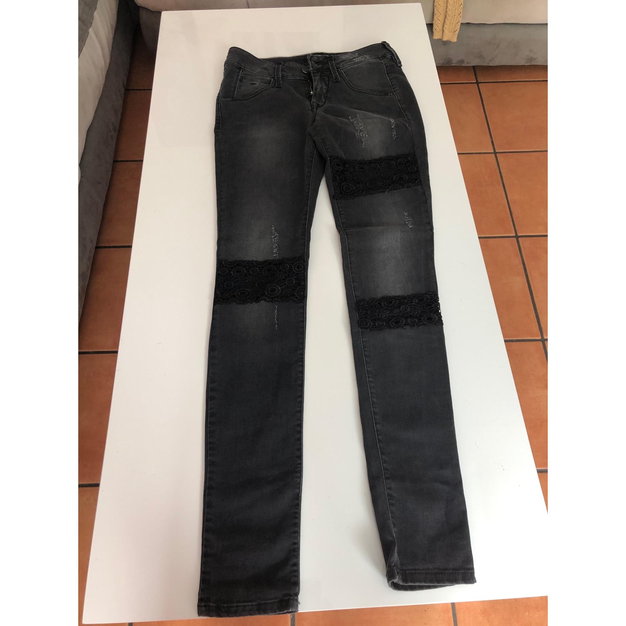 Jeans slim FORNARINA Gris, anthracite