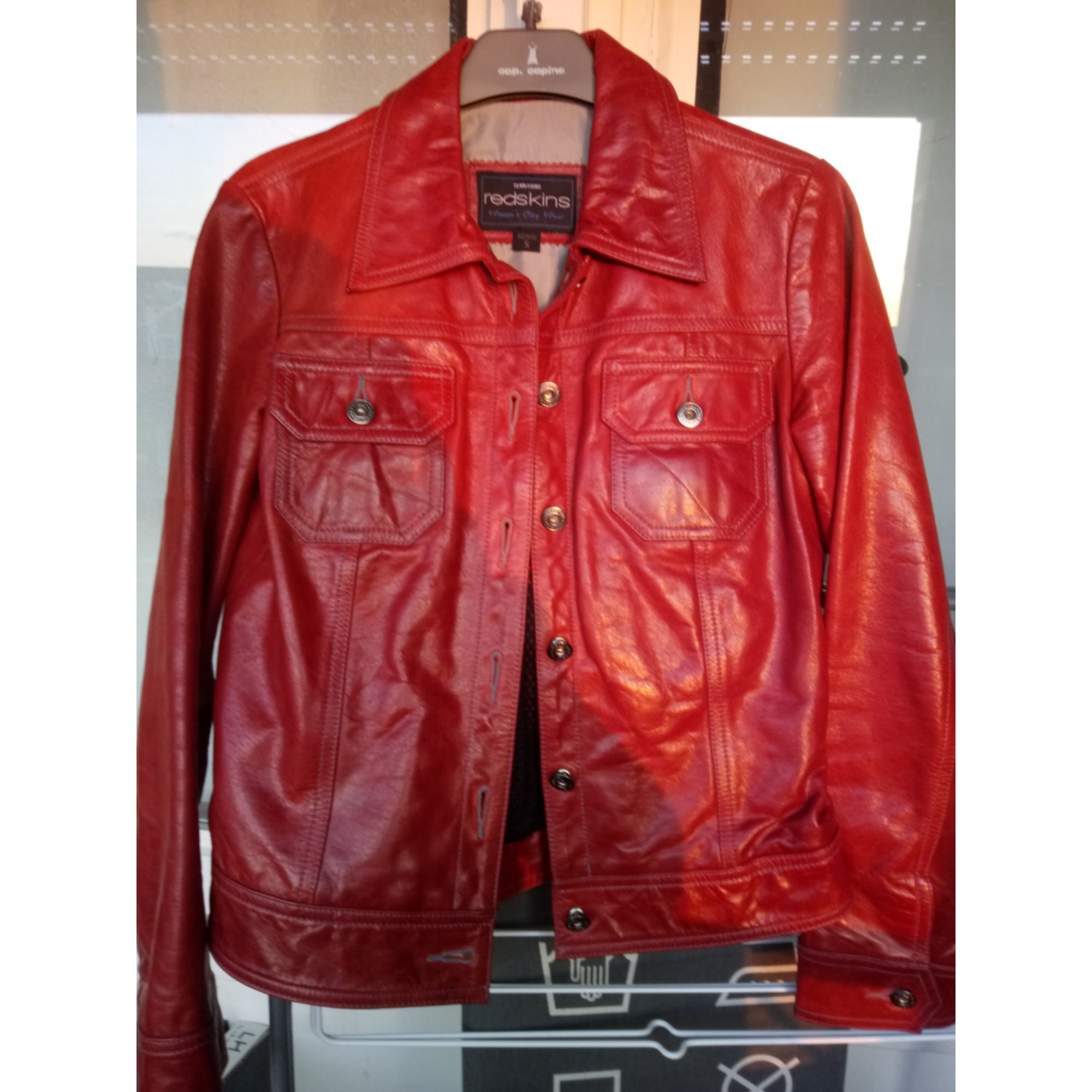 Veste en cuir REDSKINS Rouge, bordeaux