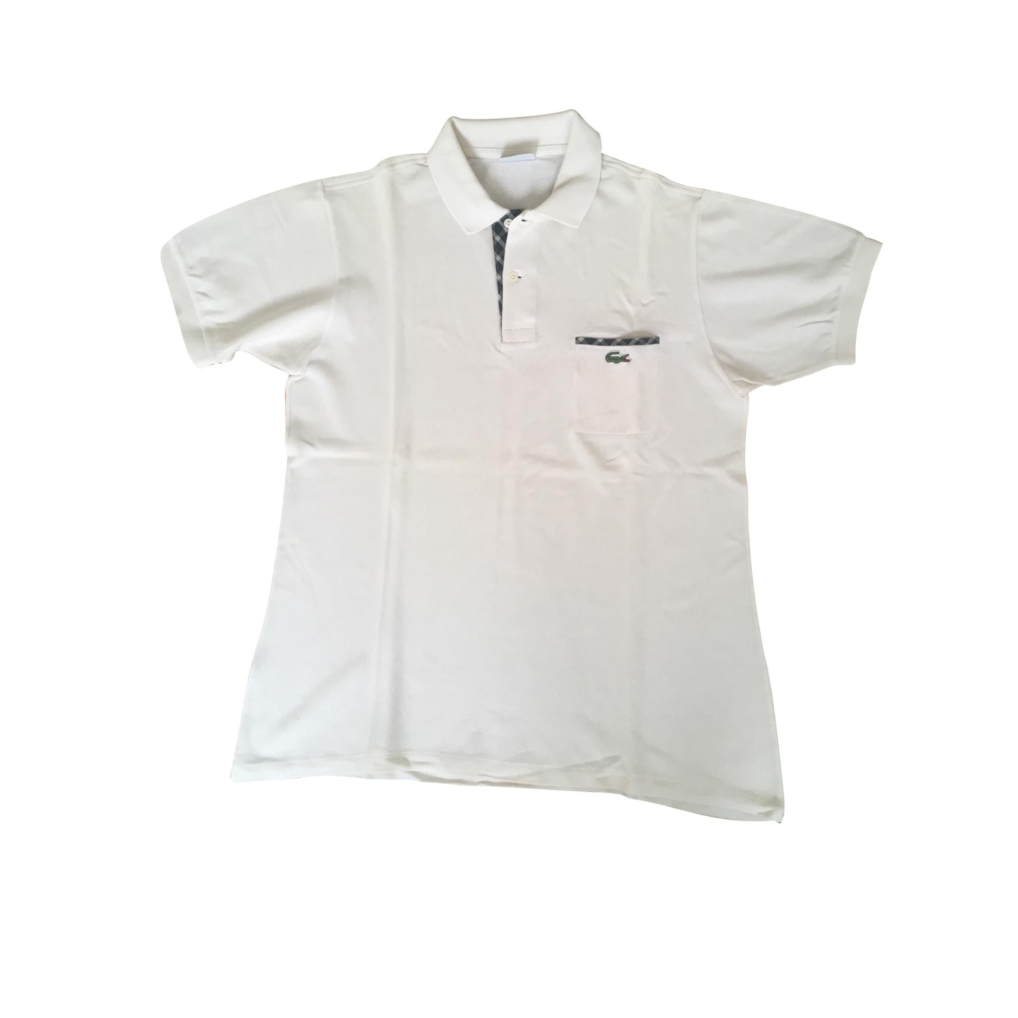 Polo LACOSTE Blanc, blanc cassé, écru