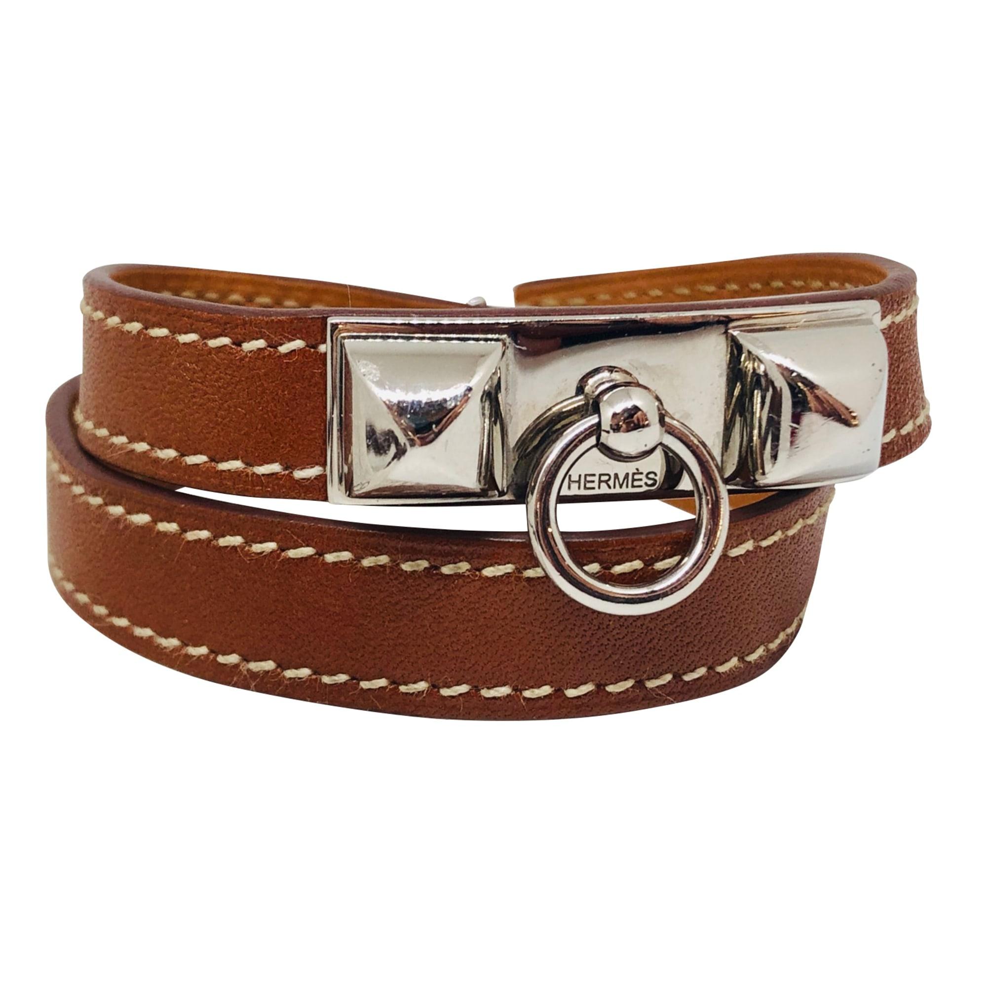 Bracelet HERMÈS Rivale Marron, argent