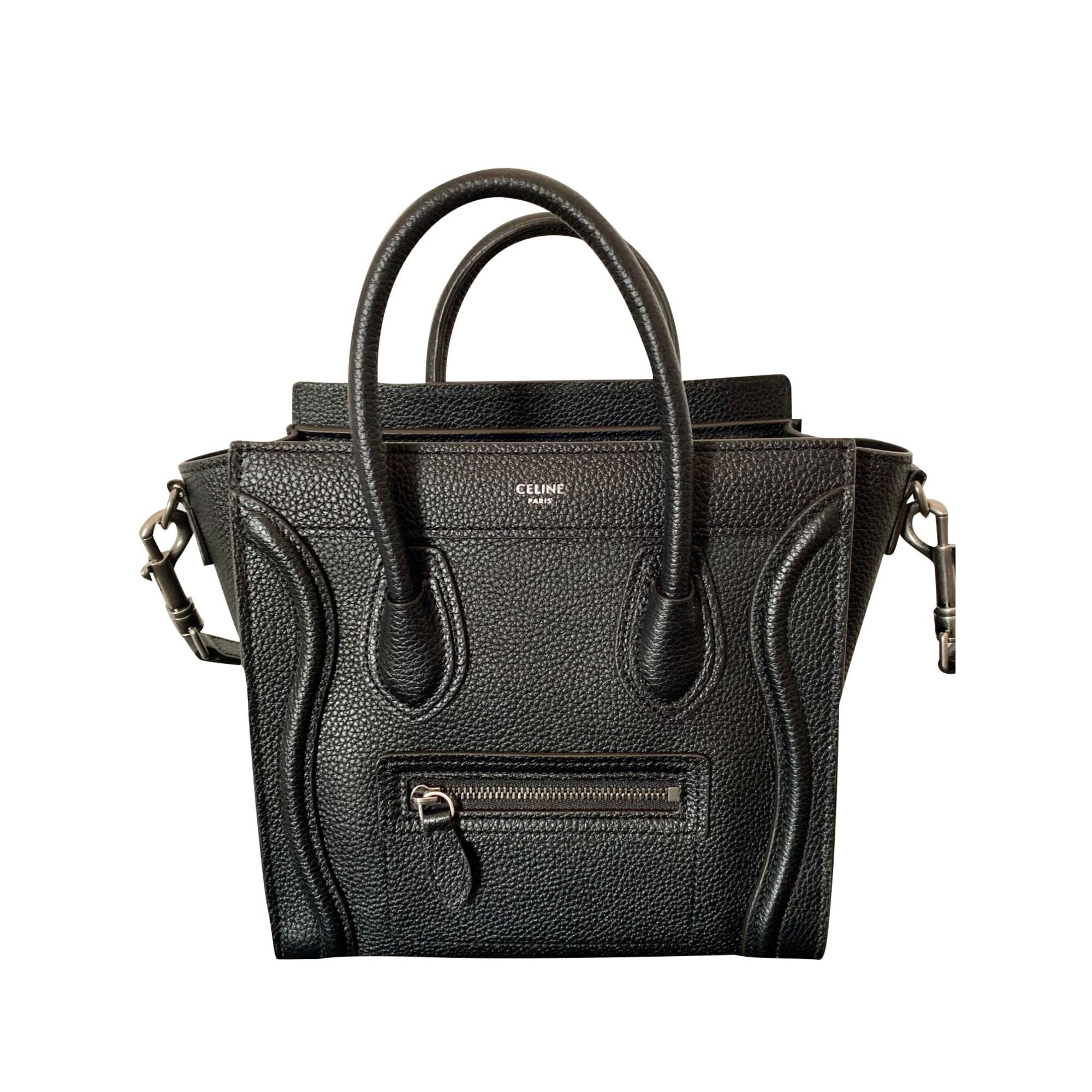 Leather Shoulder Bag CÉLINE Luggage Black