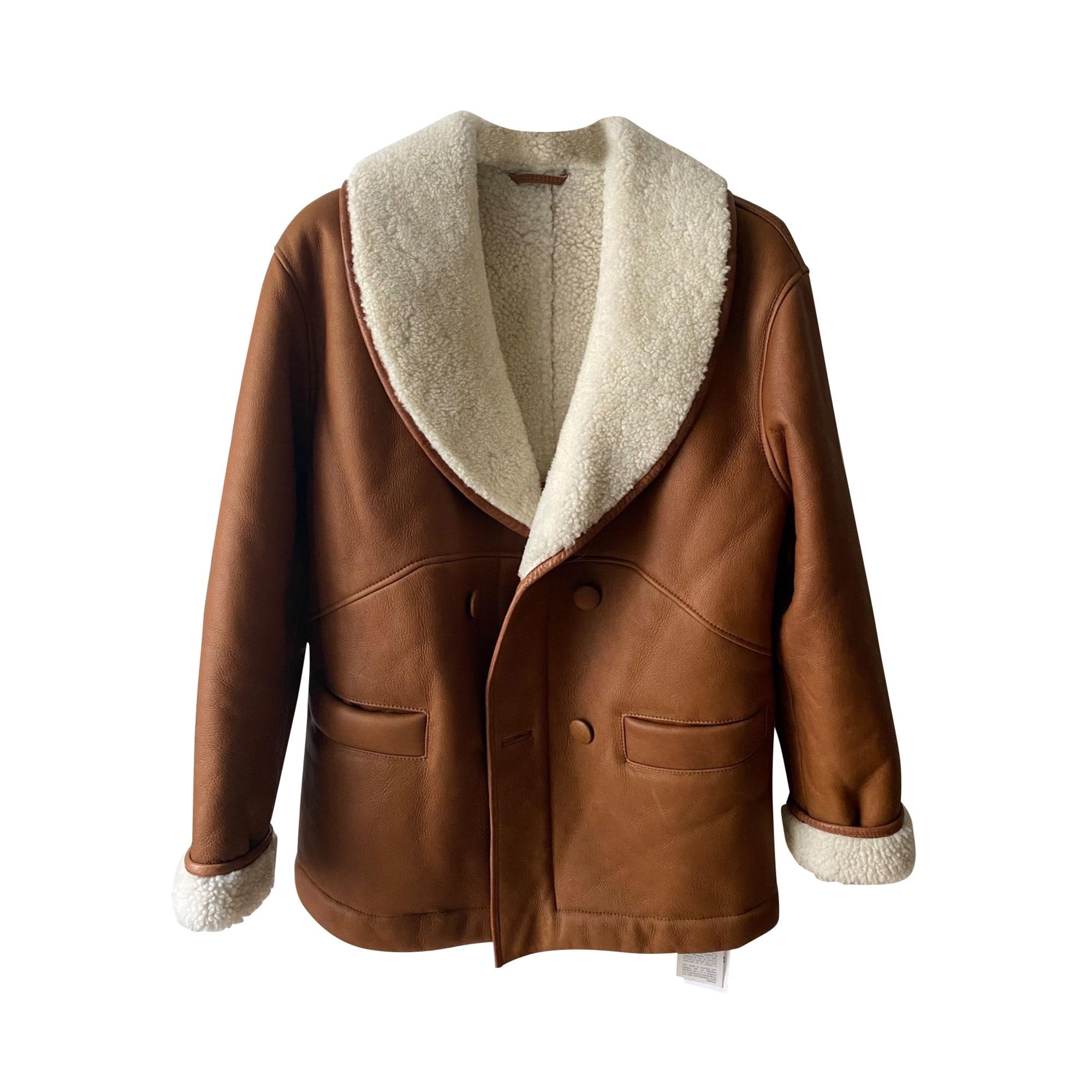 Leather Coat CLAUDIE PIERLOT Beige, camel