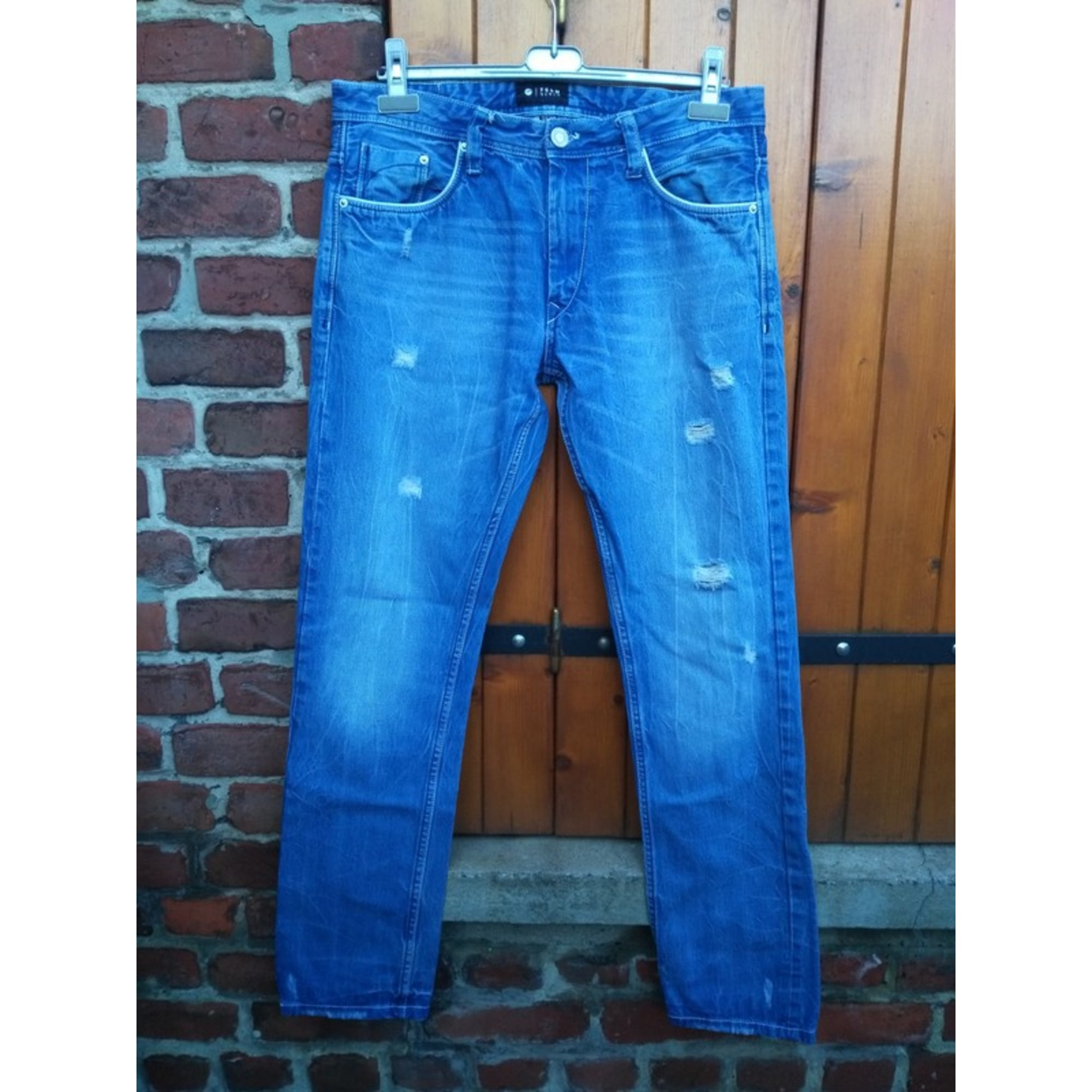Jeans droit FSBN Bleu, bleu marine, bleu turquoise