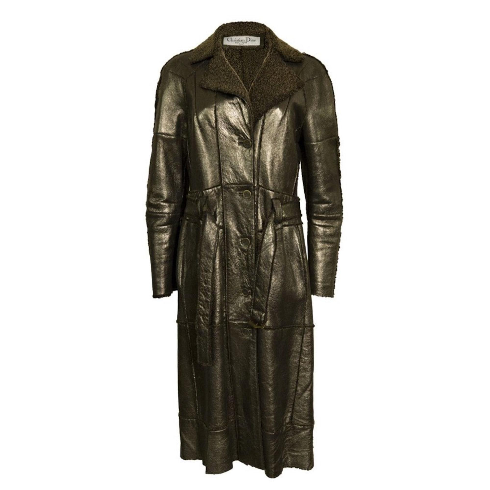 Manteau en cuir DIOR Argenté, acier