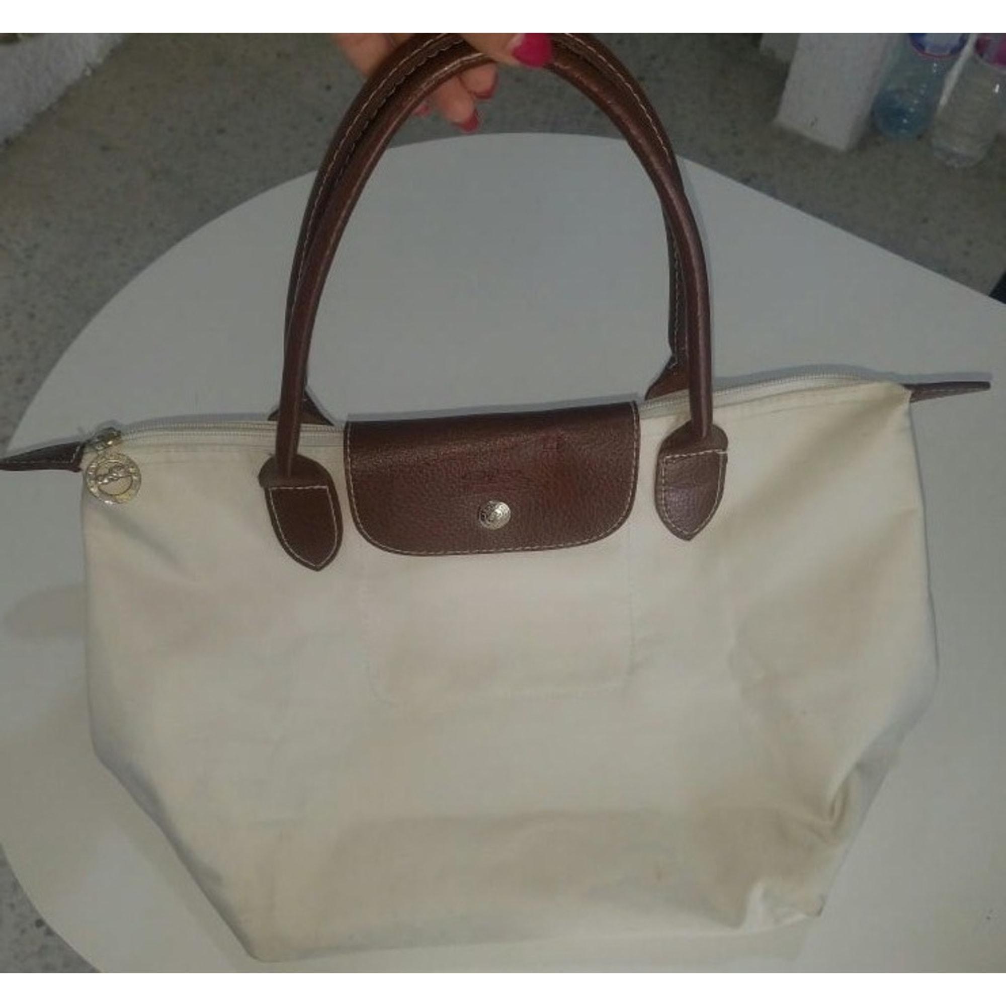 Sac à main en tissu LONGCHAMP Mademoiselle Longchamp Blanc, blanc cassé, écru