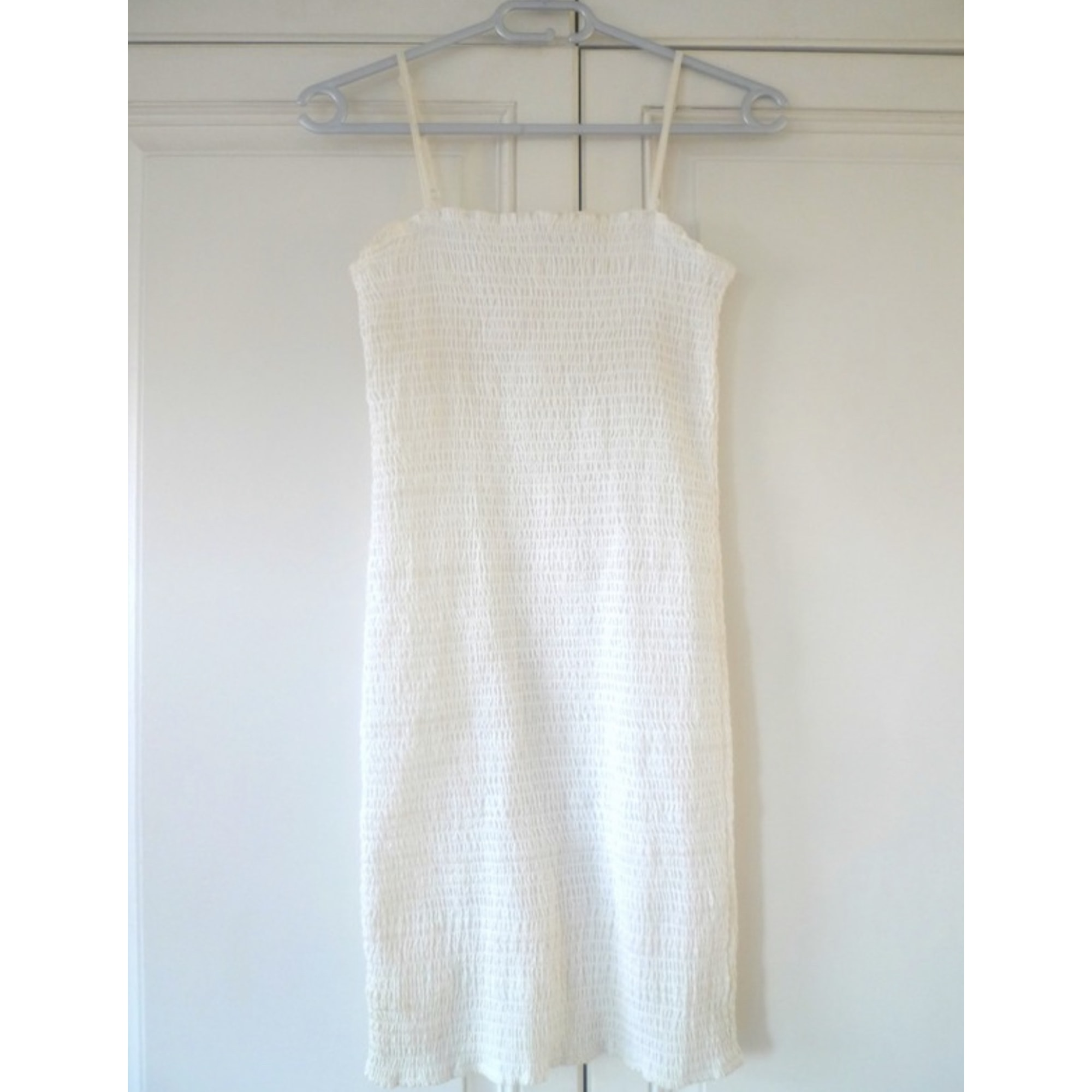 Robe courte H&M Blanc, blanc cassé, écru