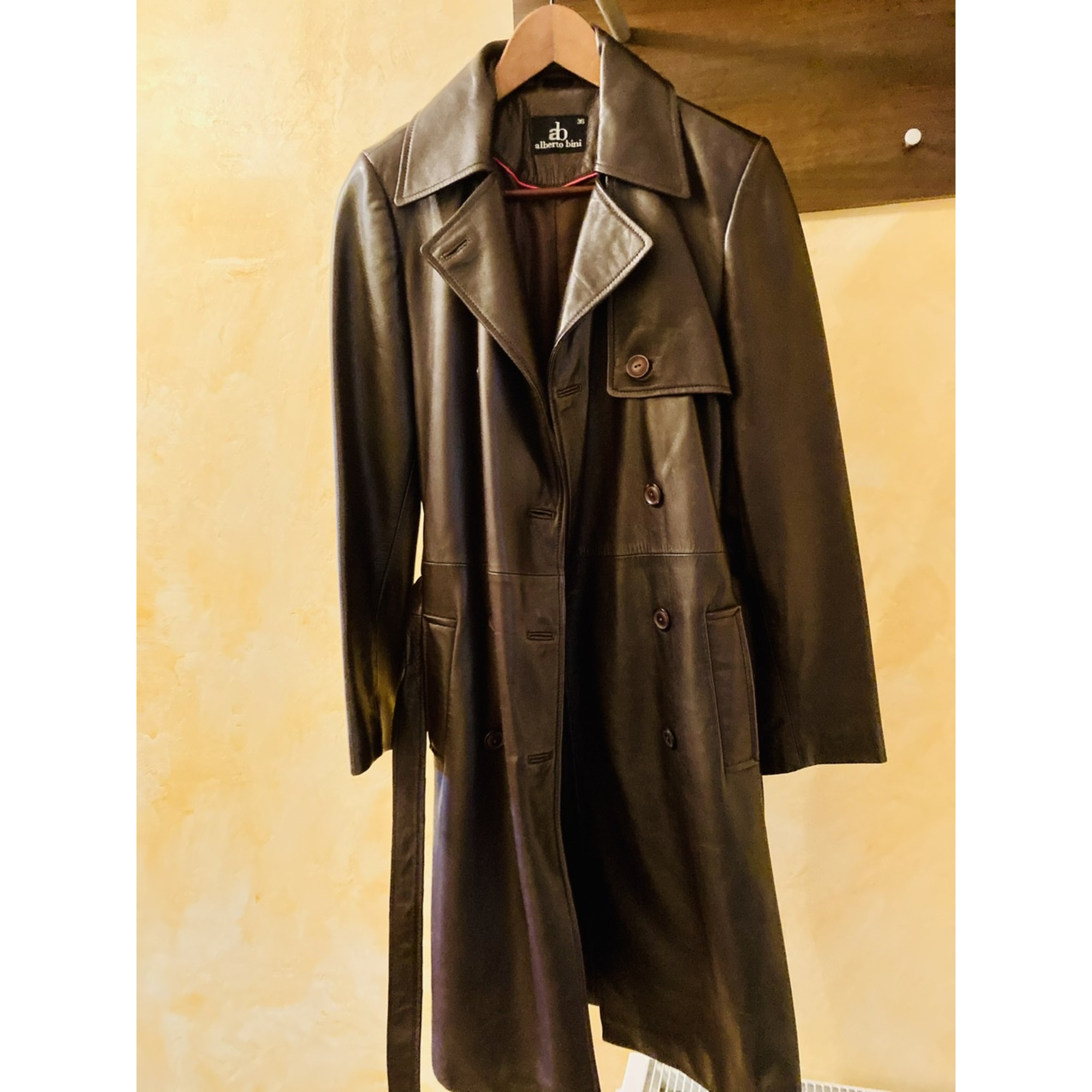 Manteau en cuir ALBERTO BINI Marron