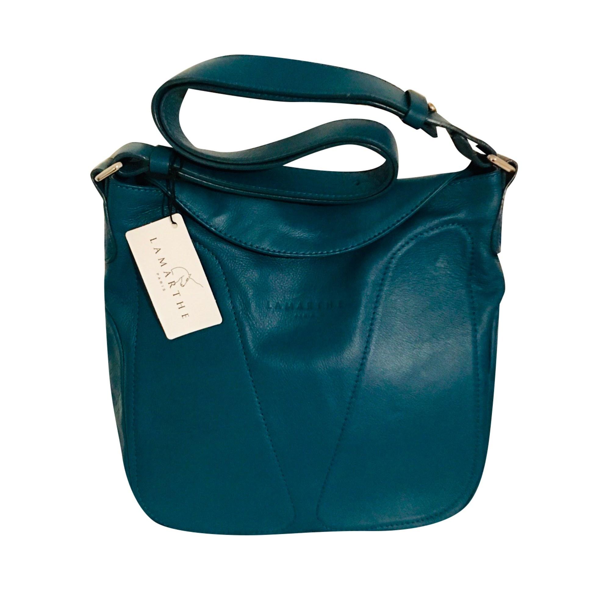 Sac en bandoulière en cuir LAMARTHE Bleu, bleu marine, bleu turquoise