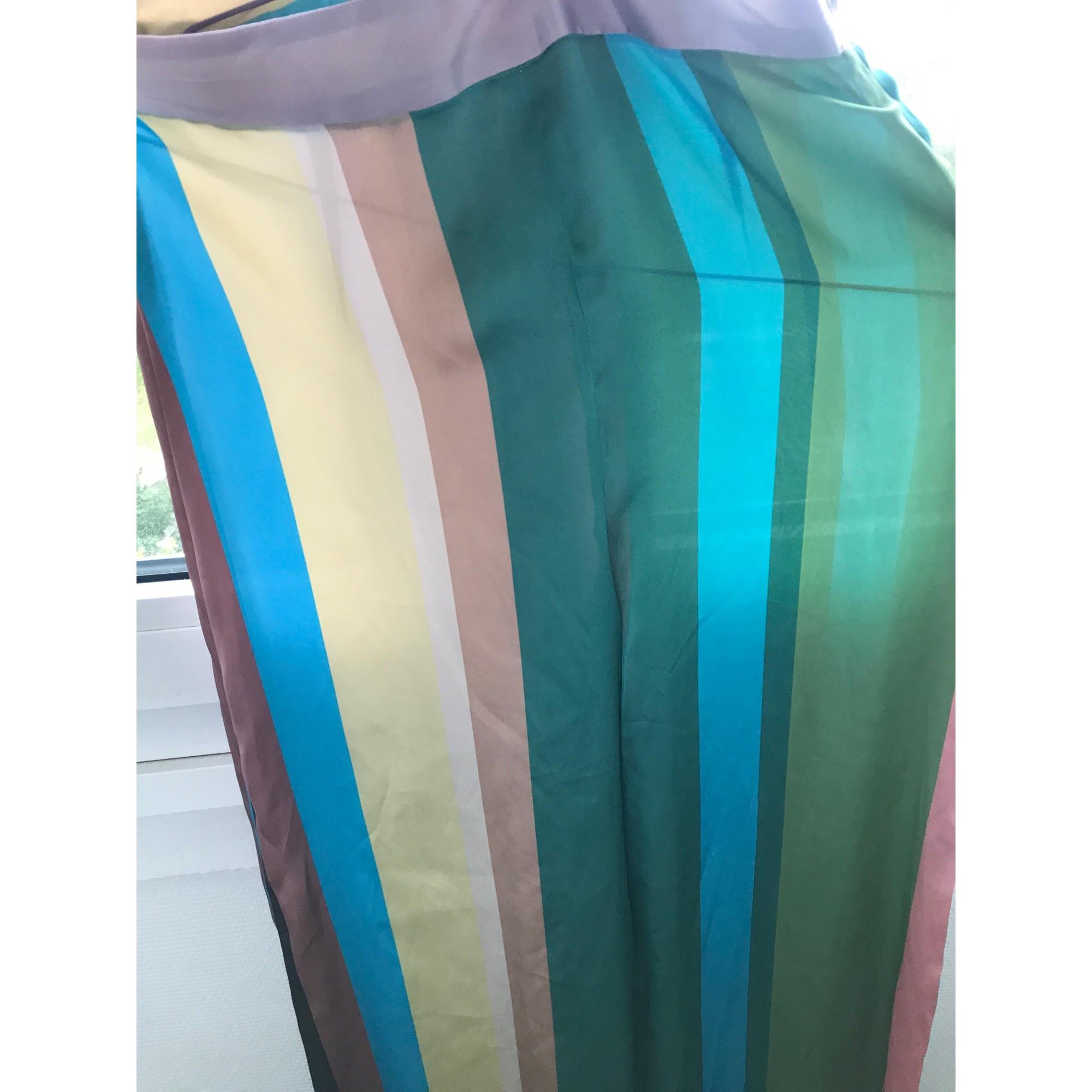 Pantalon large ZARA Bleu vert jaune marron