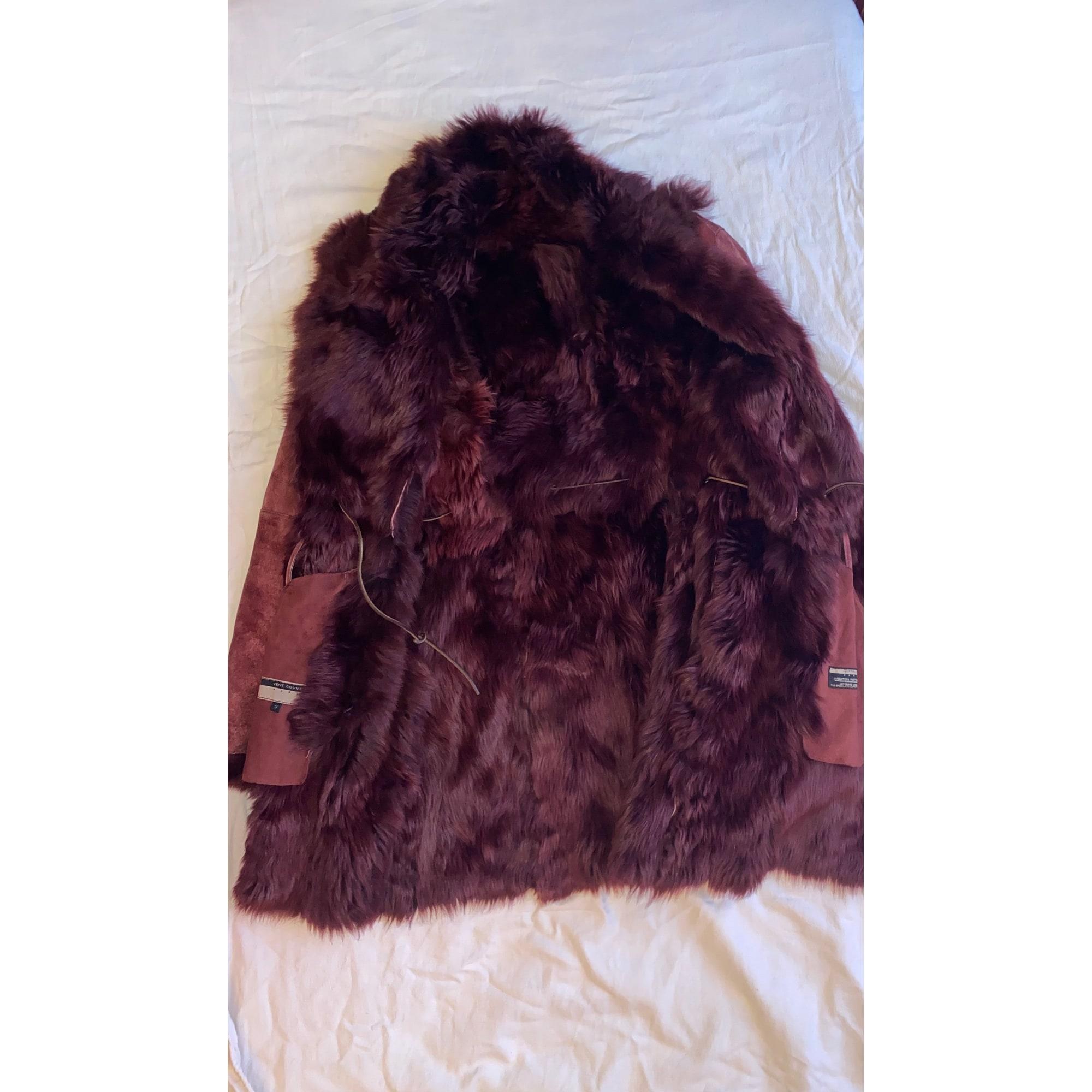 Manteau en fourrure VENCOUVERT Rouge, bordeaux