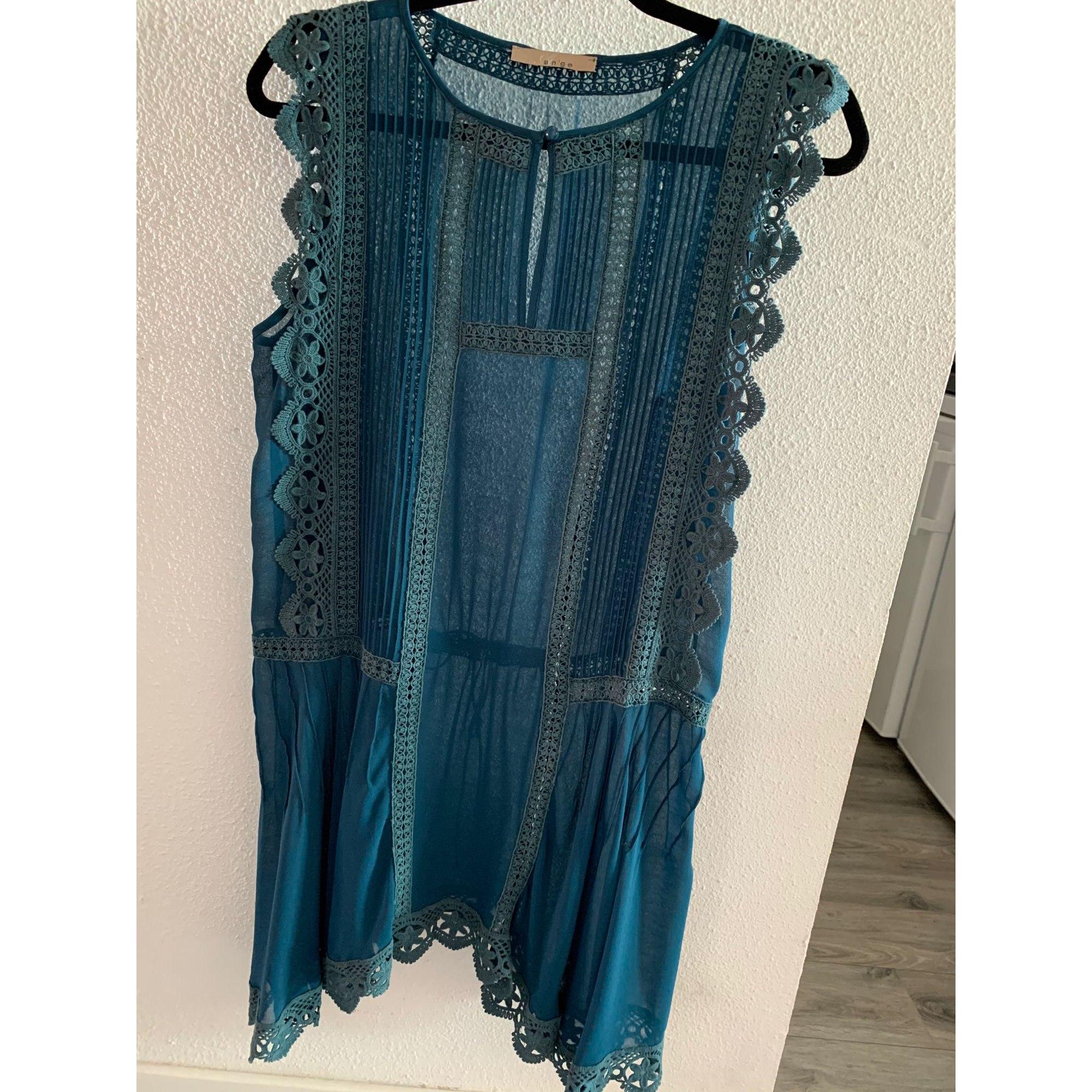 Top, tee-shirt A'NGE Bleu, bleu marine, bleu turquoise