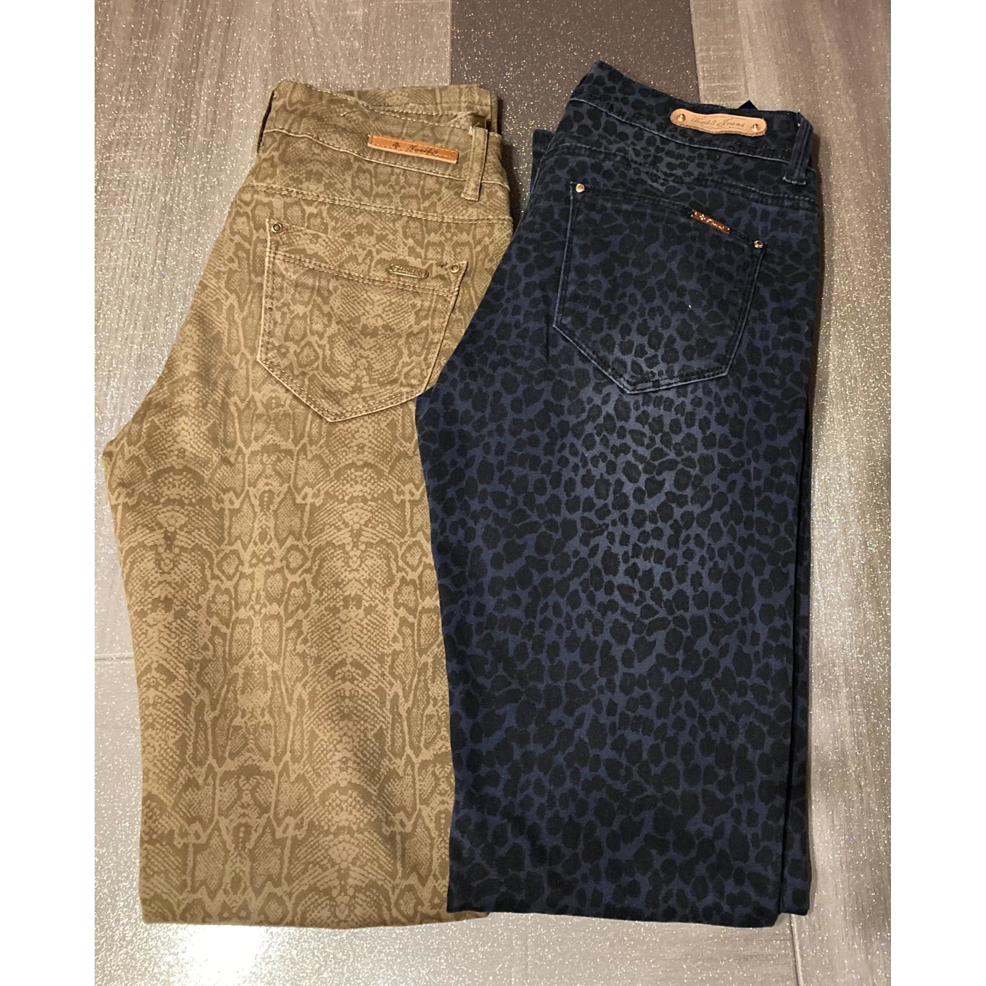 Pantalon slim, cigarette TOXIK 3 JEANS Doré, bronze, cuivre